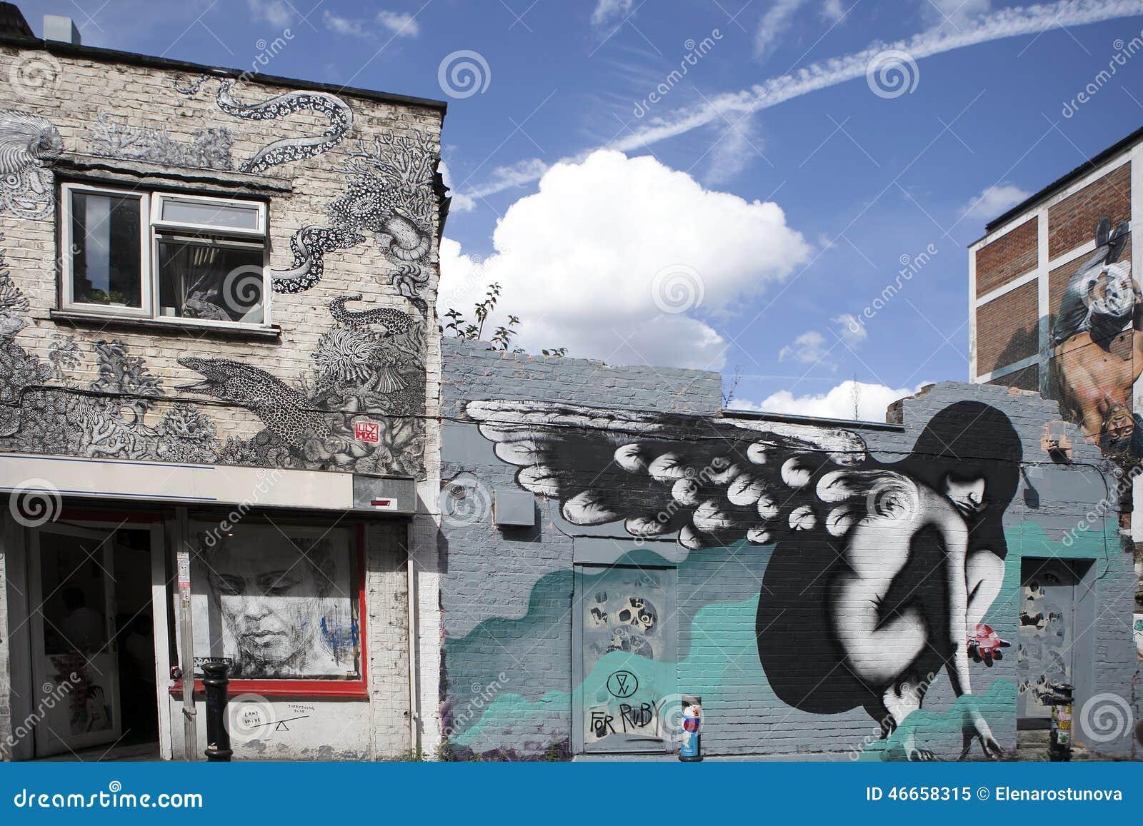 在砖车道东伦敦附近的都市街道画