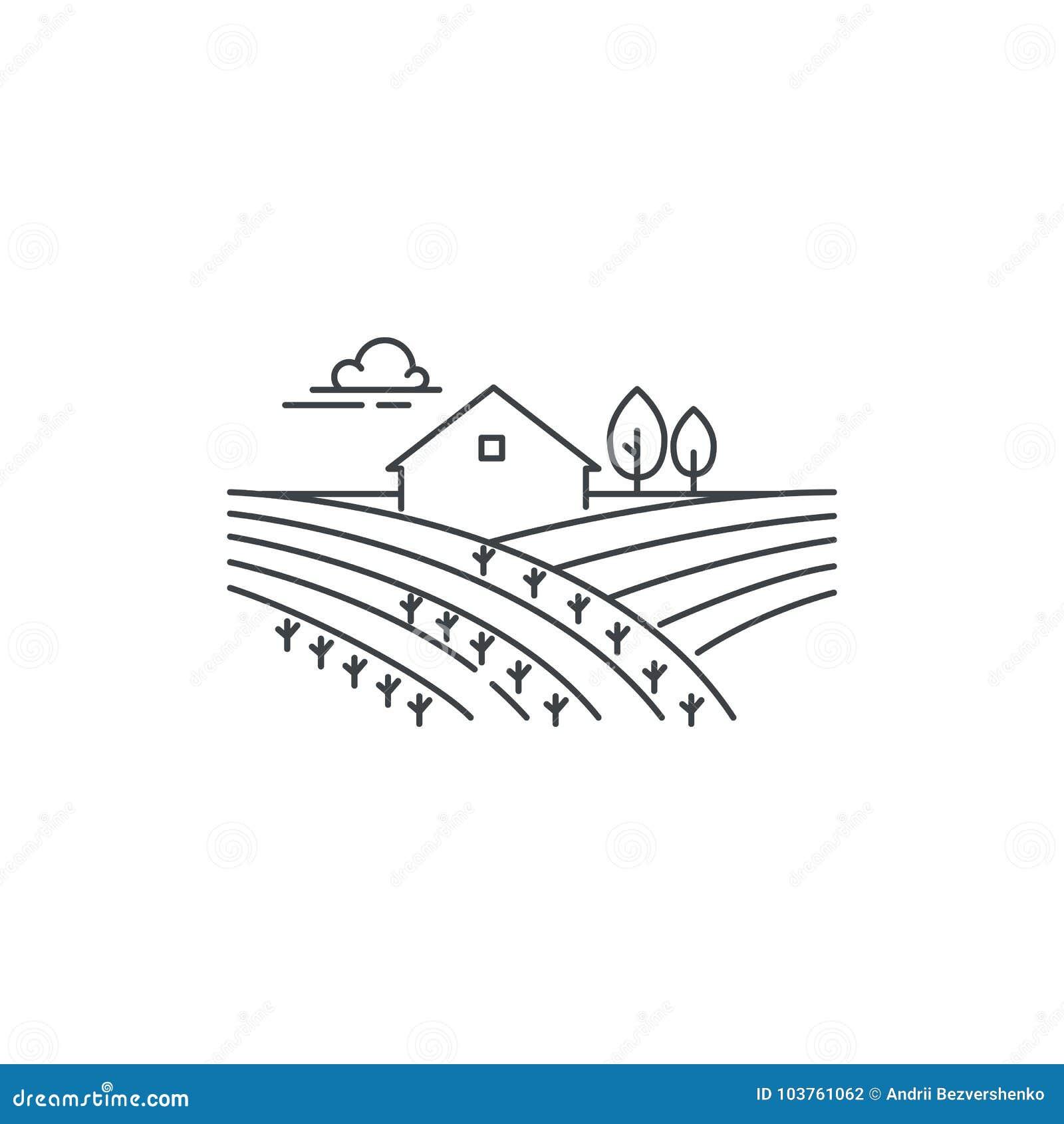 在磁力线象的农舍 概述在白色背景隔绝的风景,传染媒介线性设计的例证