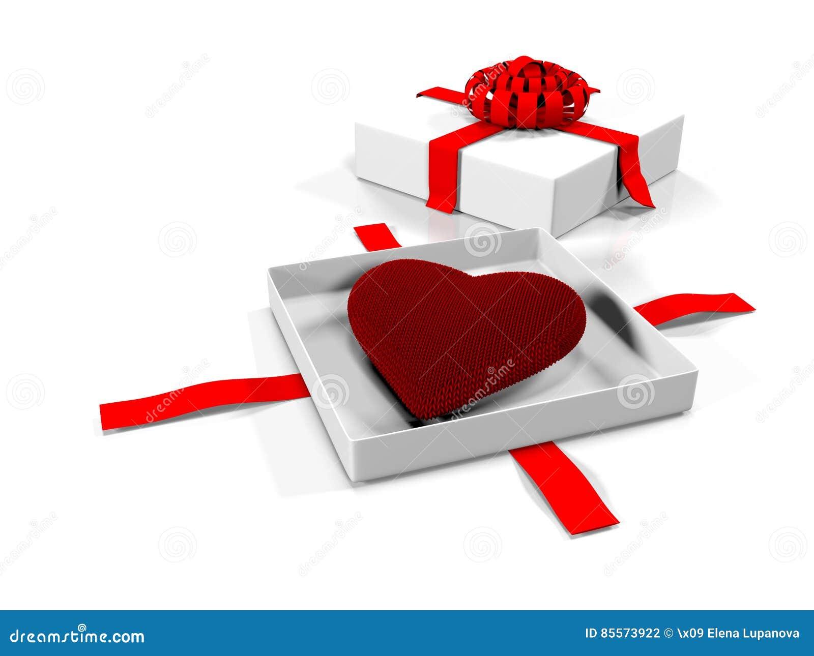 在礼物盒的心脏,隔绝在白色背景, 3d回报