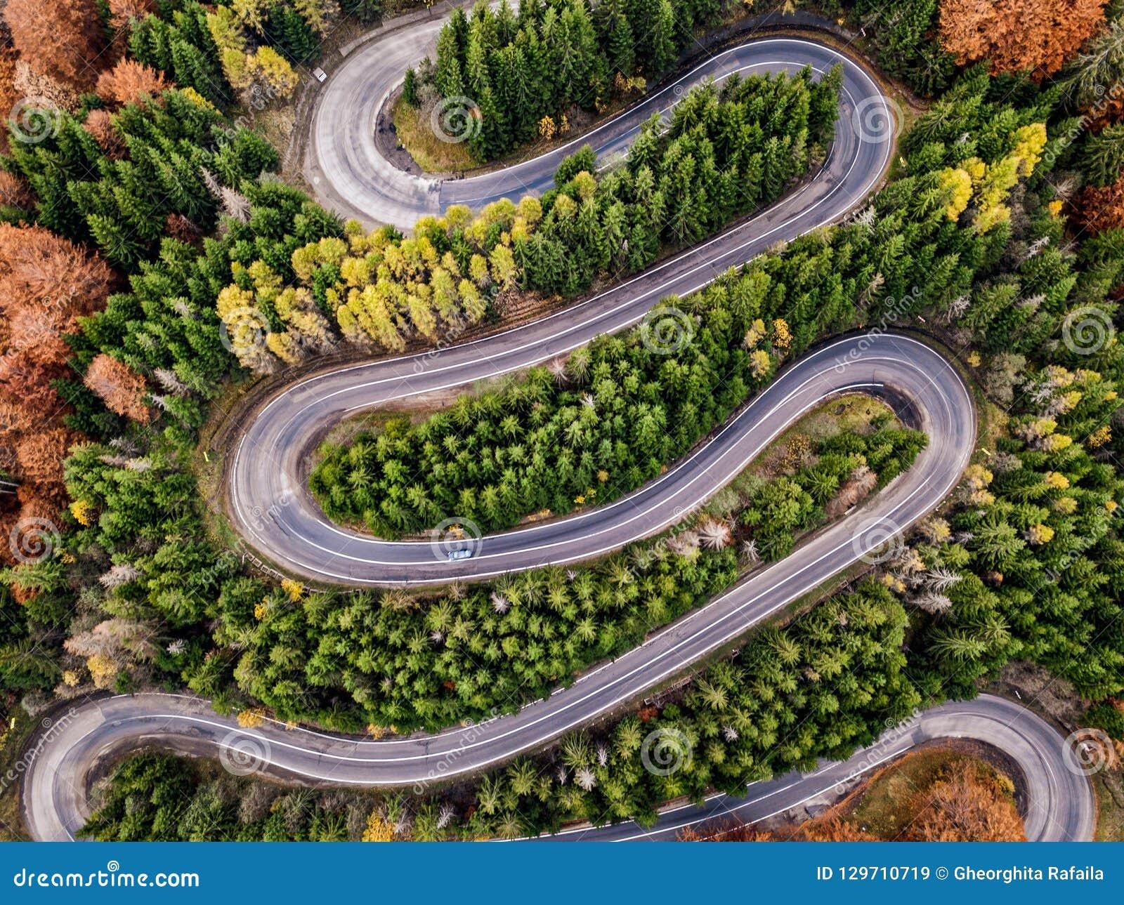 在秋天季节的弯曲道路