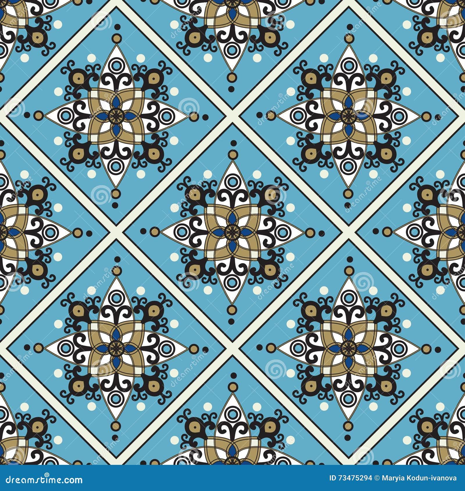 在种族东方样式的无缝的蓝色样式
