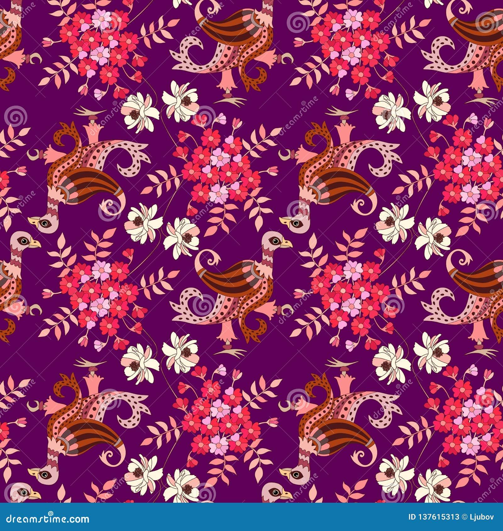 在种族样式的动物无缝的装饰品 与翼在佩兹利形状和美丽的花的不可思议的鸟在黑暗的紫色背景