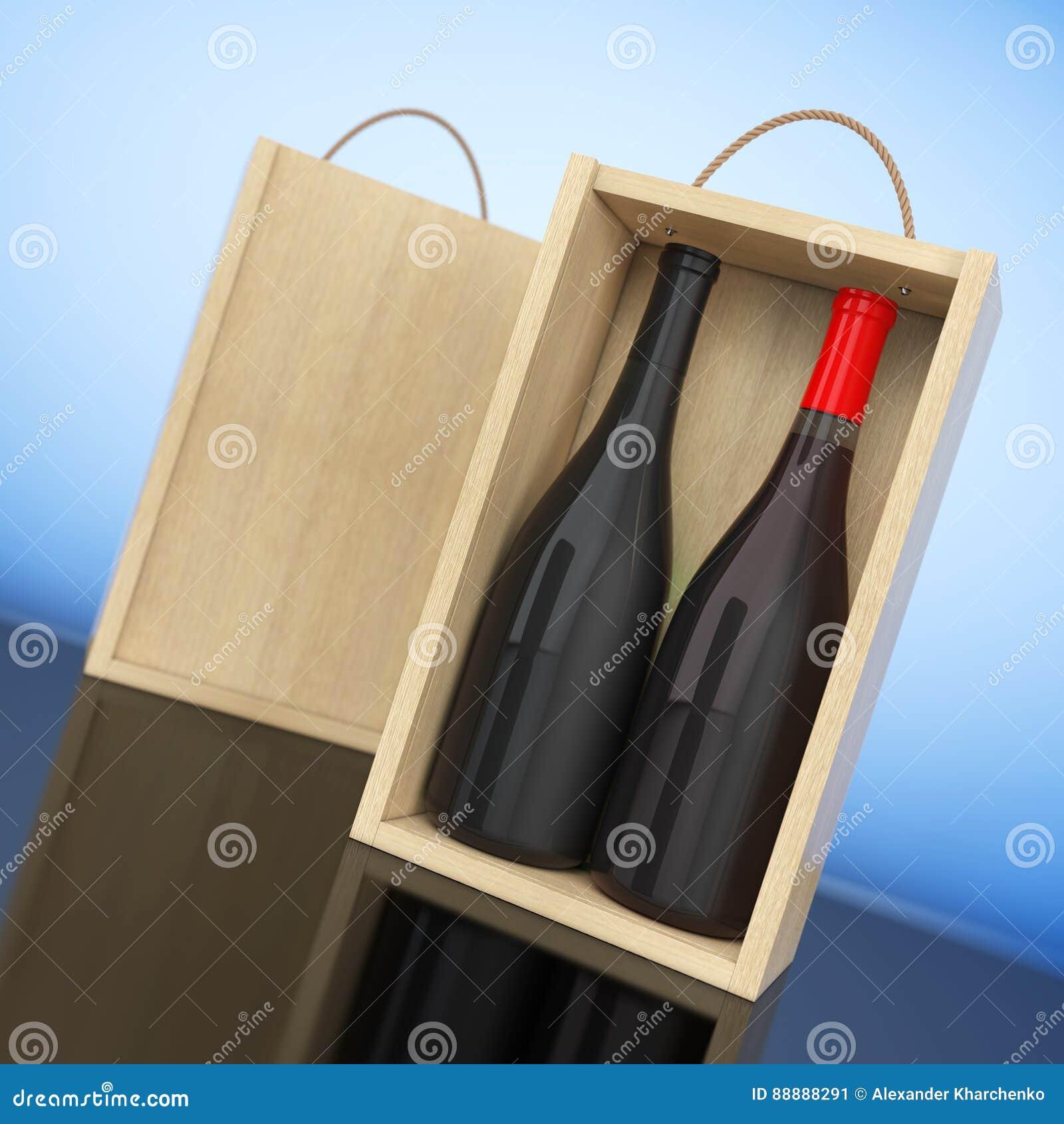 在空白的木酒的酒瓶包装与把柄 3d翻译