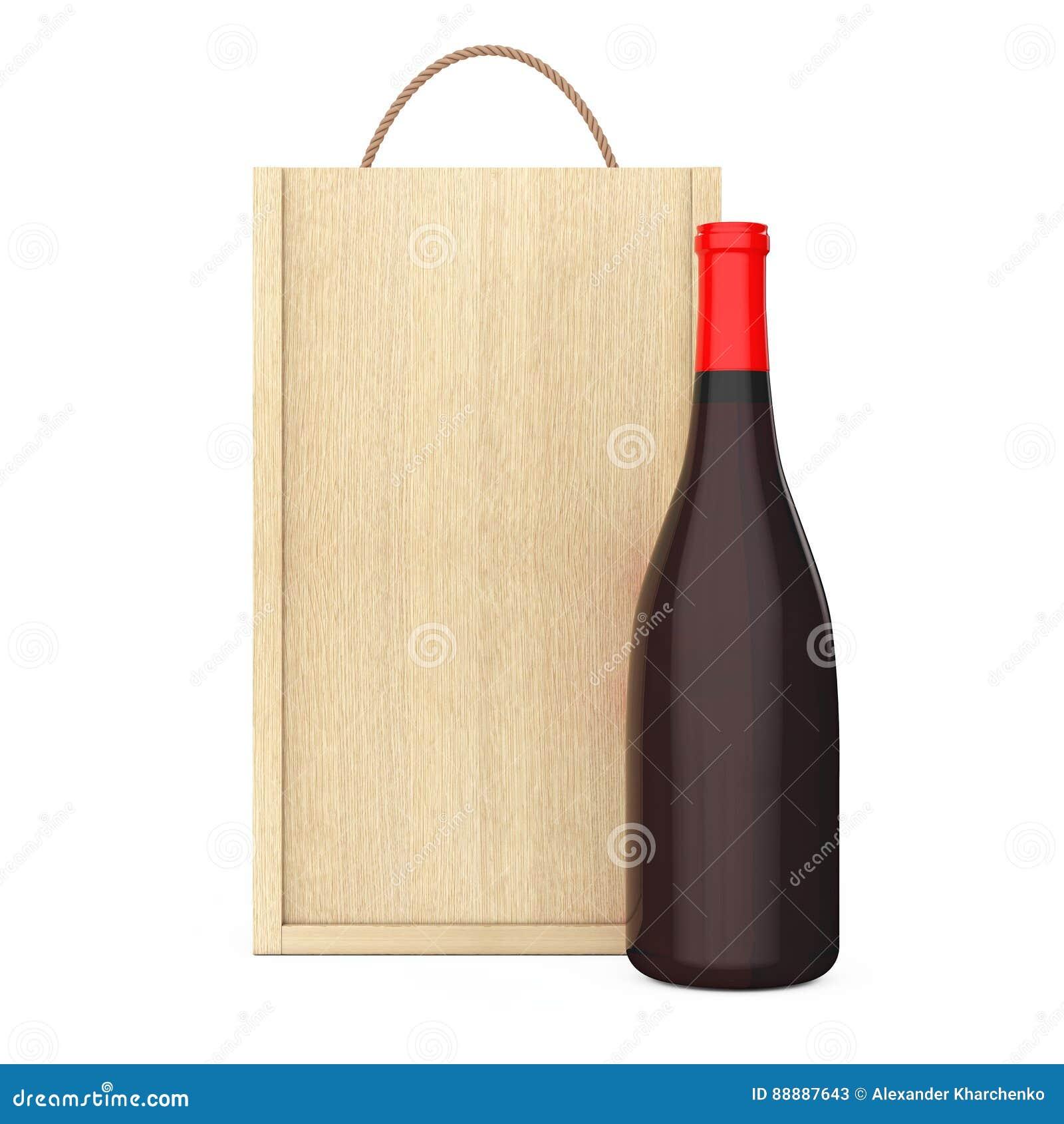 在空白的木酒组装的酒瓶与把柄 3d翻译