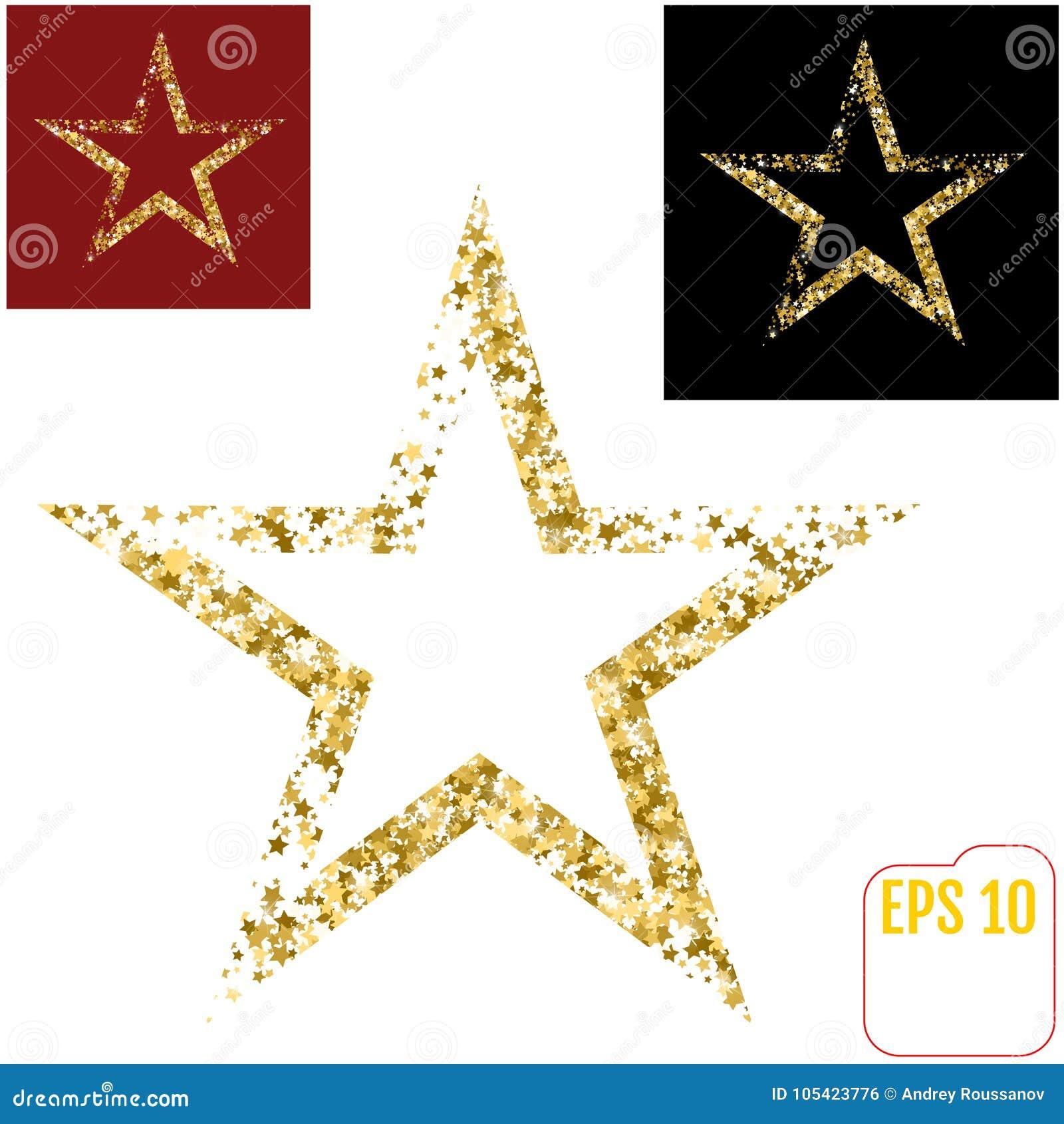 在空白背景查出的金黄圣诞节星形