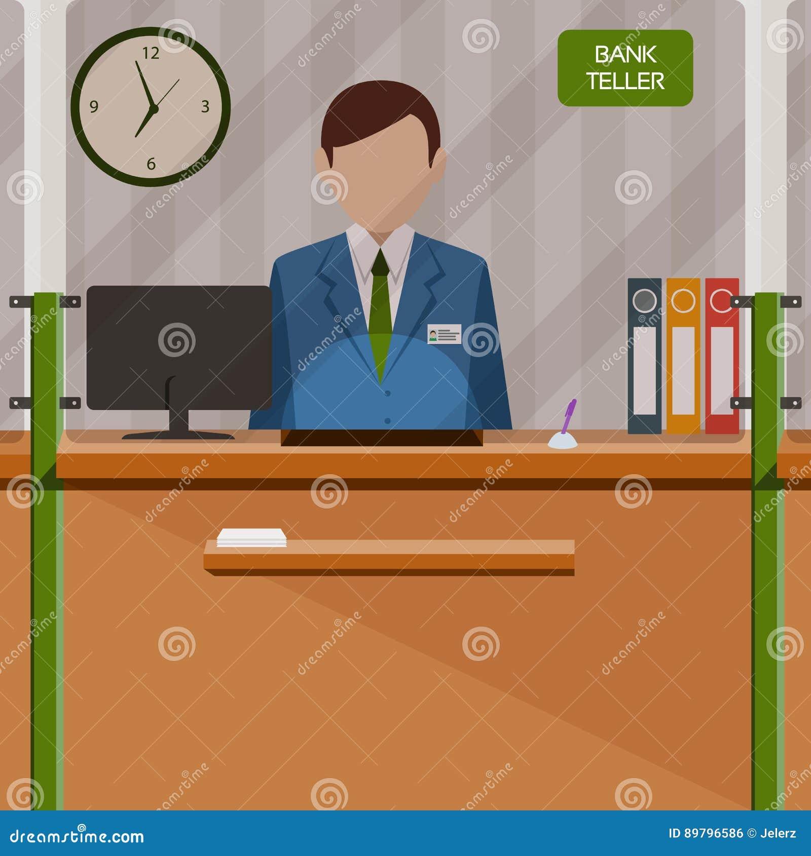 在窗口后的银行出纳员 在银行帐户的放置的金钱 人们为服务和付款