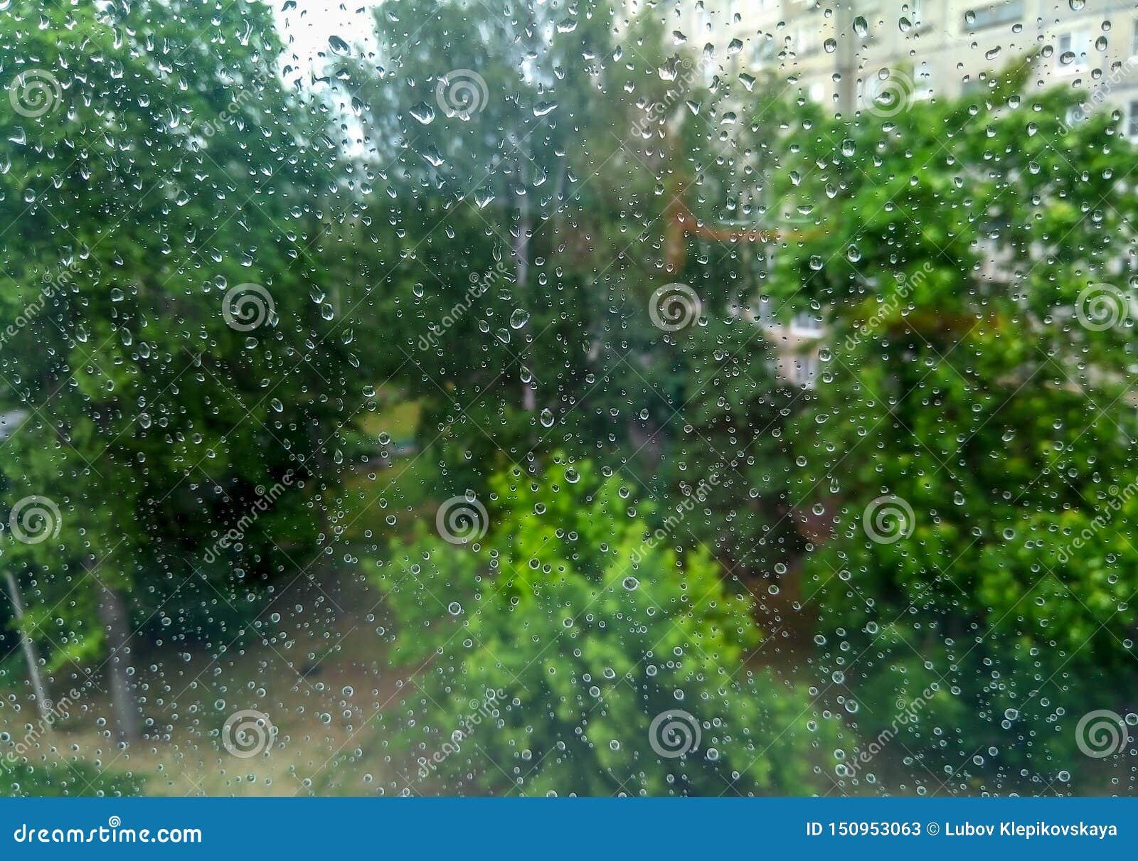 在窗玻璃的雨珠