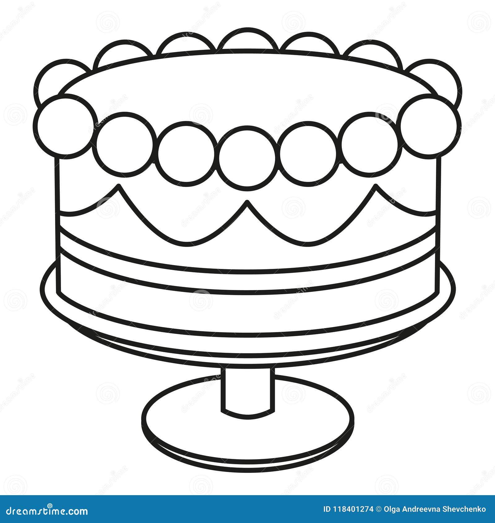 在立场的线艺术黑白生日蛋糕