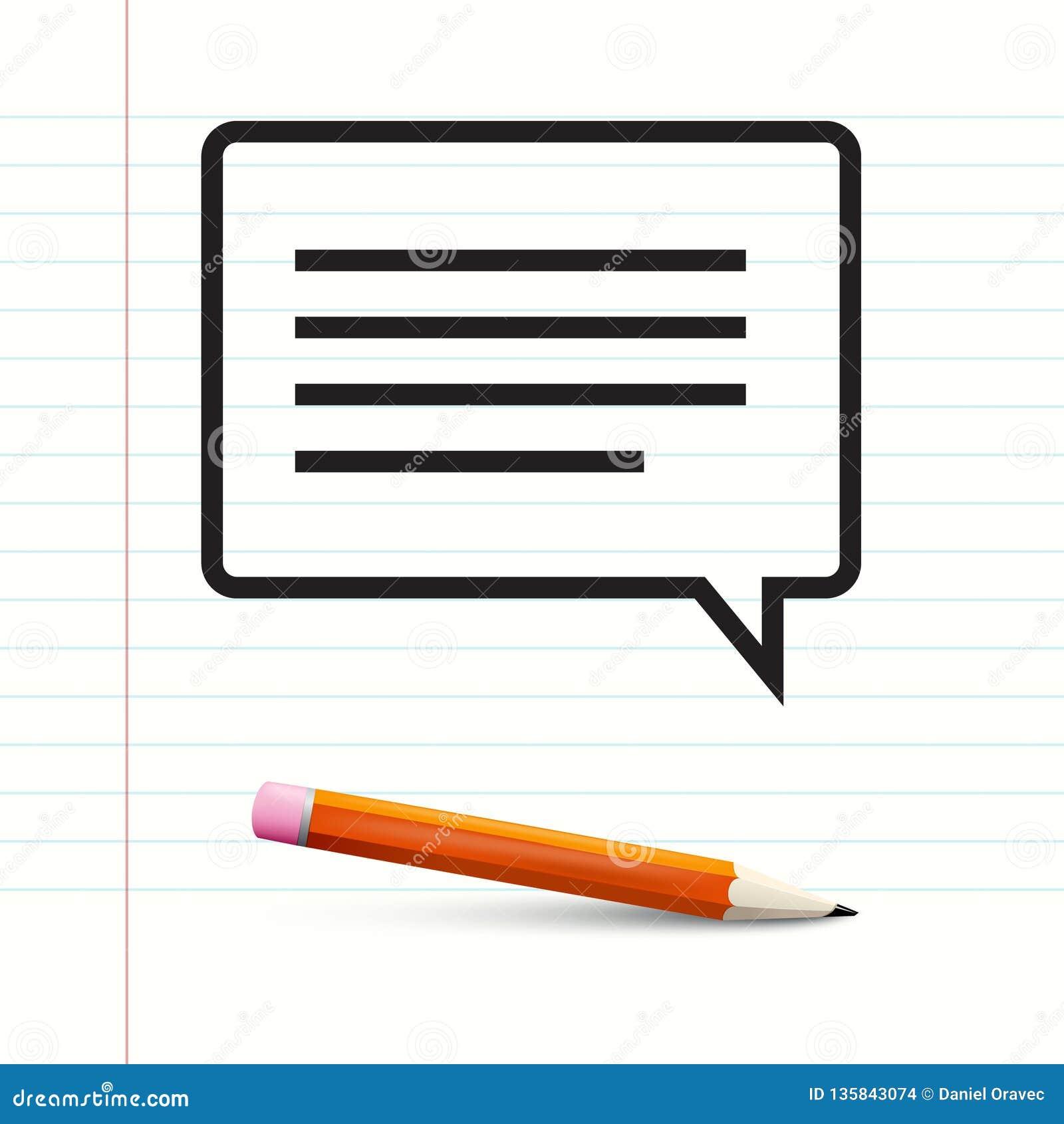 在笔记本纸的短信与铅笔