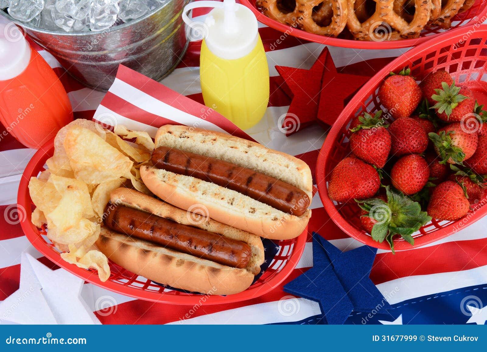 在第4的热狗7月野餐桌