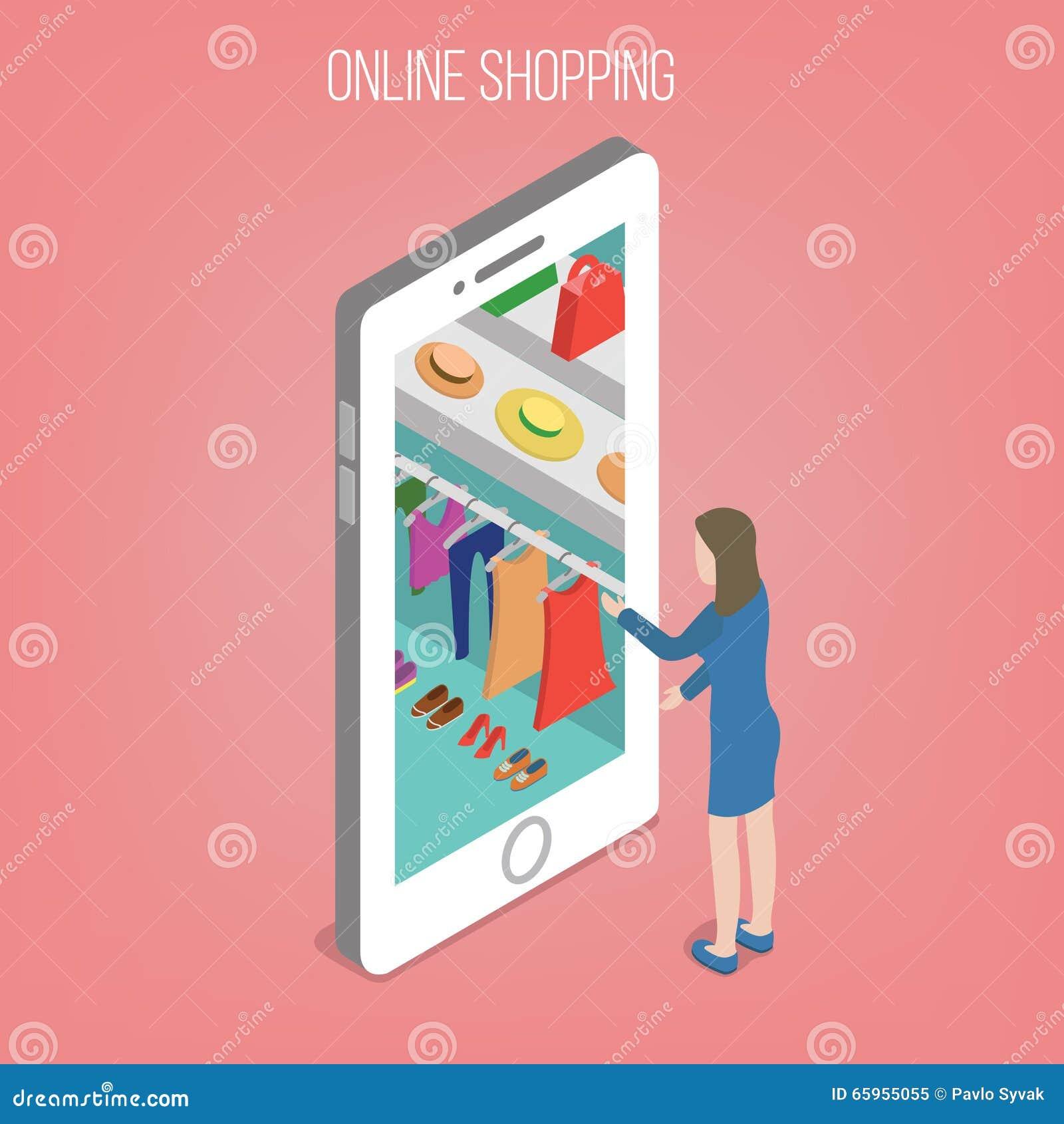 在等量样式的网上购物概念