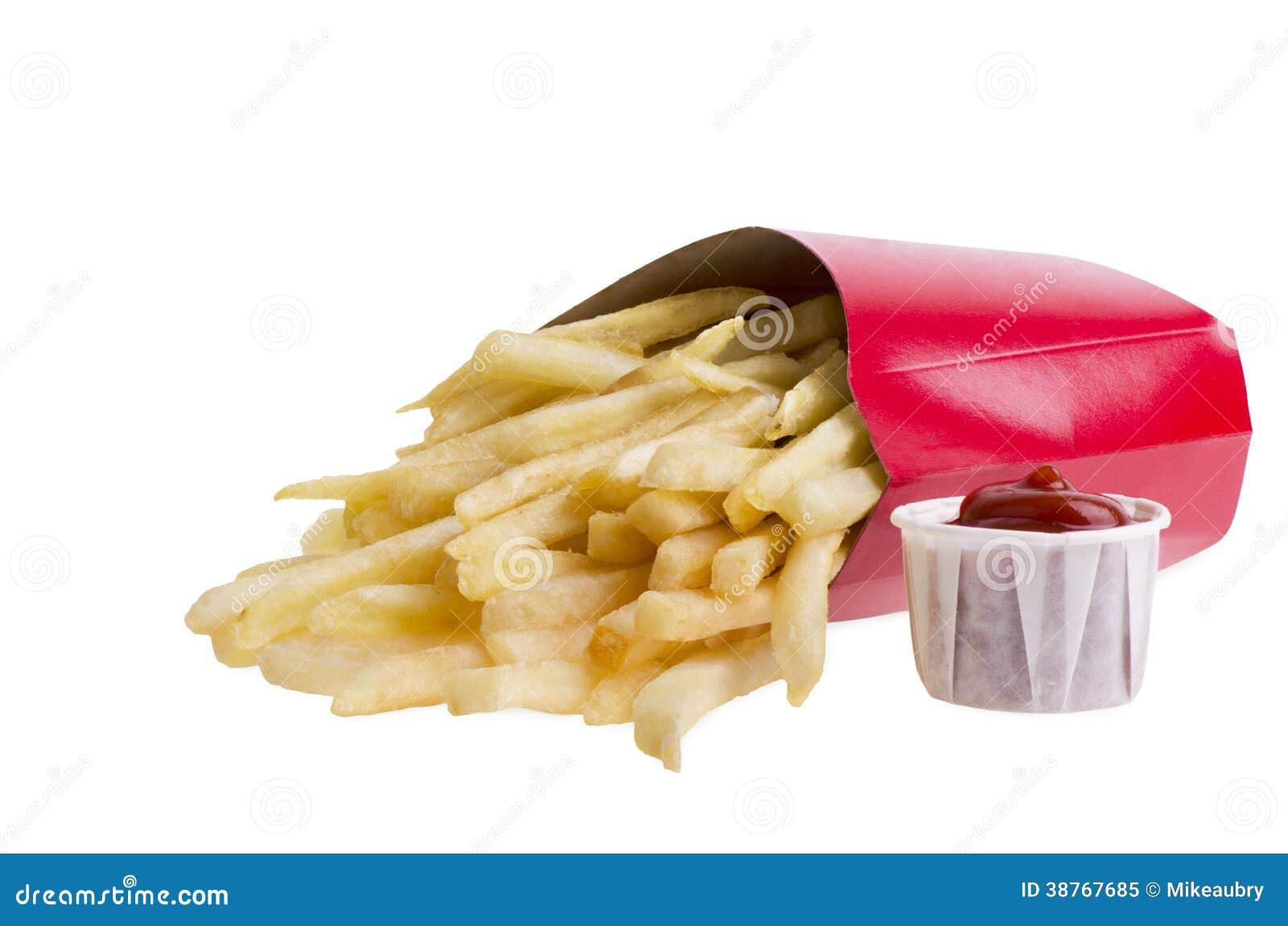 在箱子和番茄酱的炸薯条
