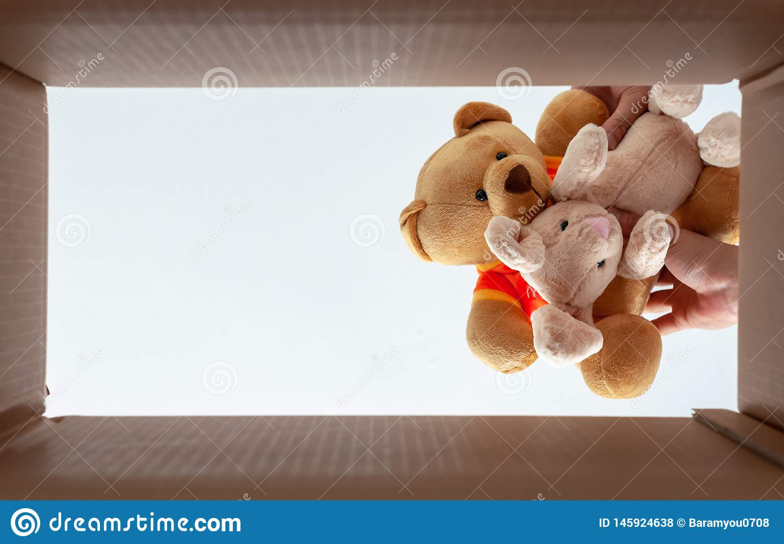 在箱子的包装的玩偶房子移动的 照片从底视图采取