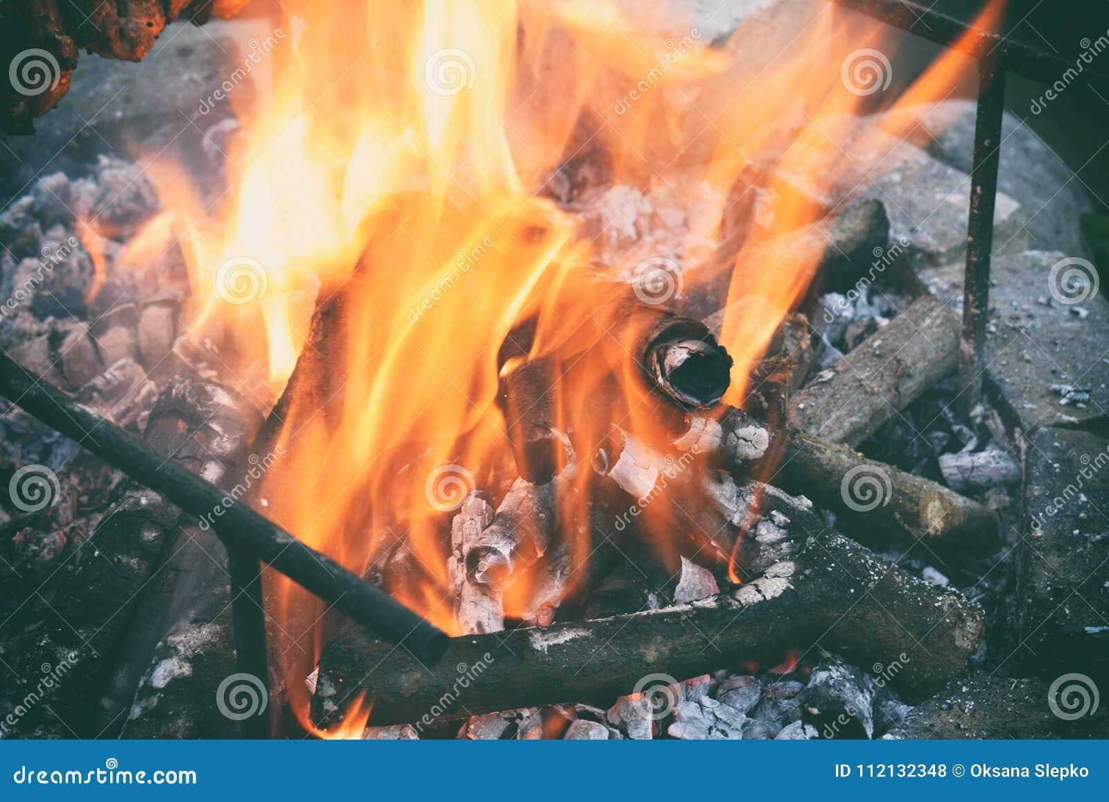 在篝火的灼烧的木柴 烧在与烟的格栅的火焰 放火或自然灾害 火和火焰纹理, dar