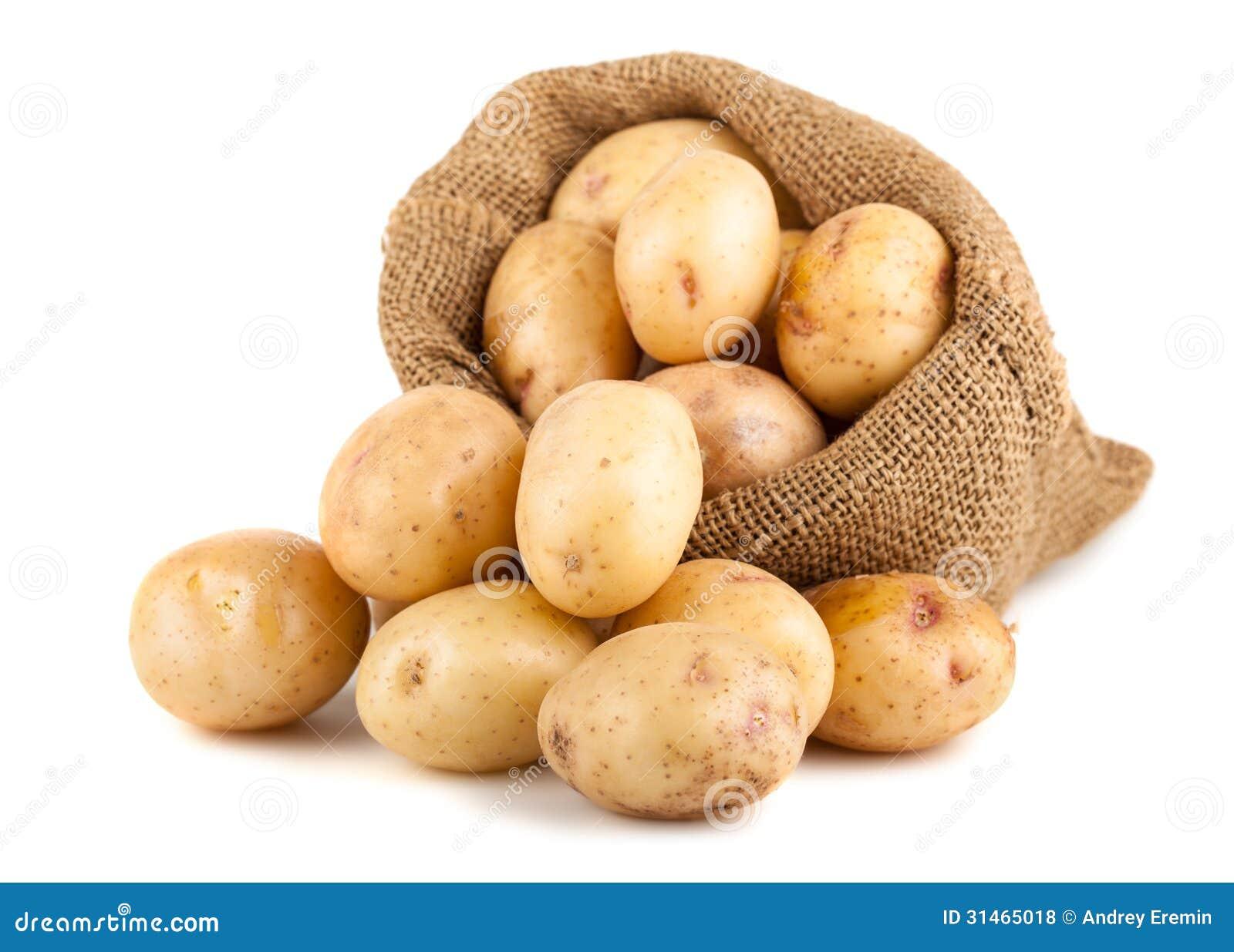 在粗麻布袋的成熟土豆 免版税库存照片 - 图片图片