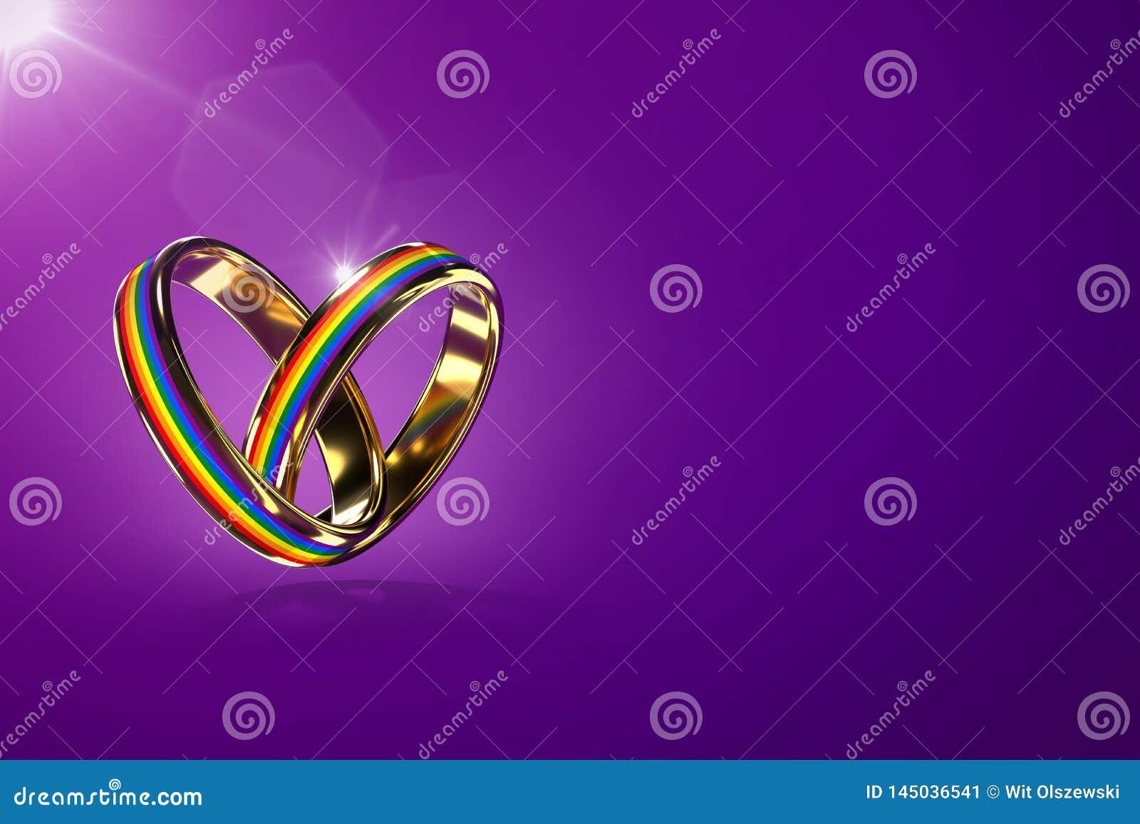 在紫色背景有彩虹颜色的两盘旋的结婚戒指隔绝的 同性恋婚姻和性别的平等权利运动