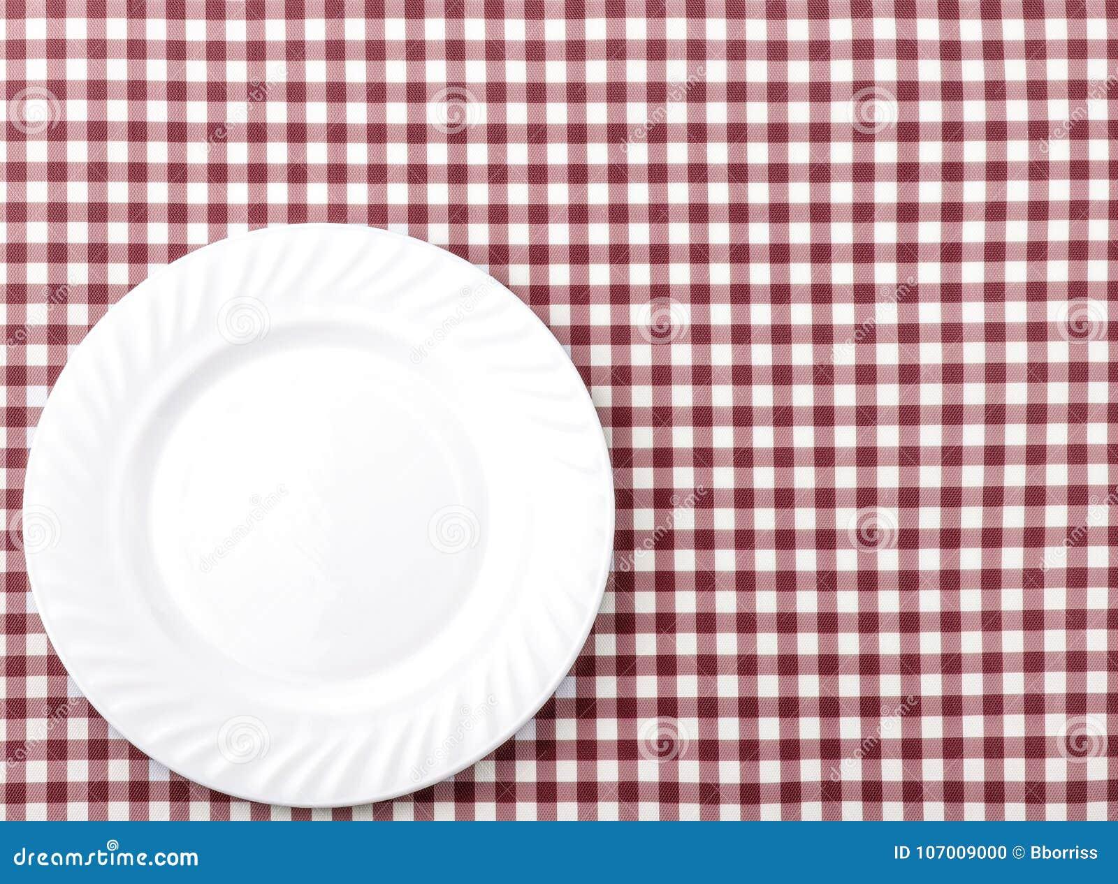 在红色和白色方格的织品桌布Backgro的白色板材