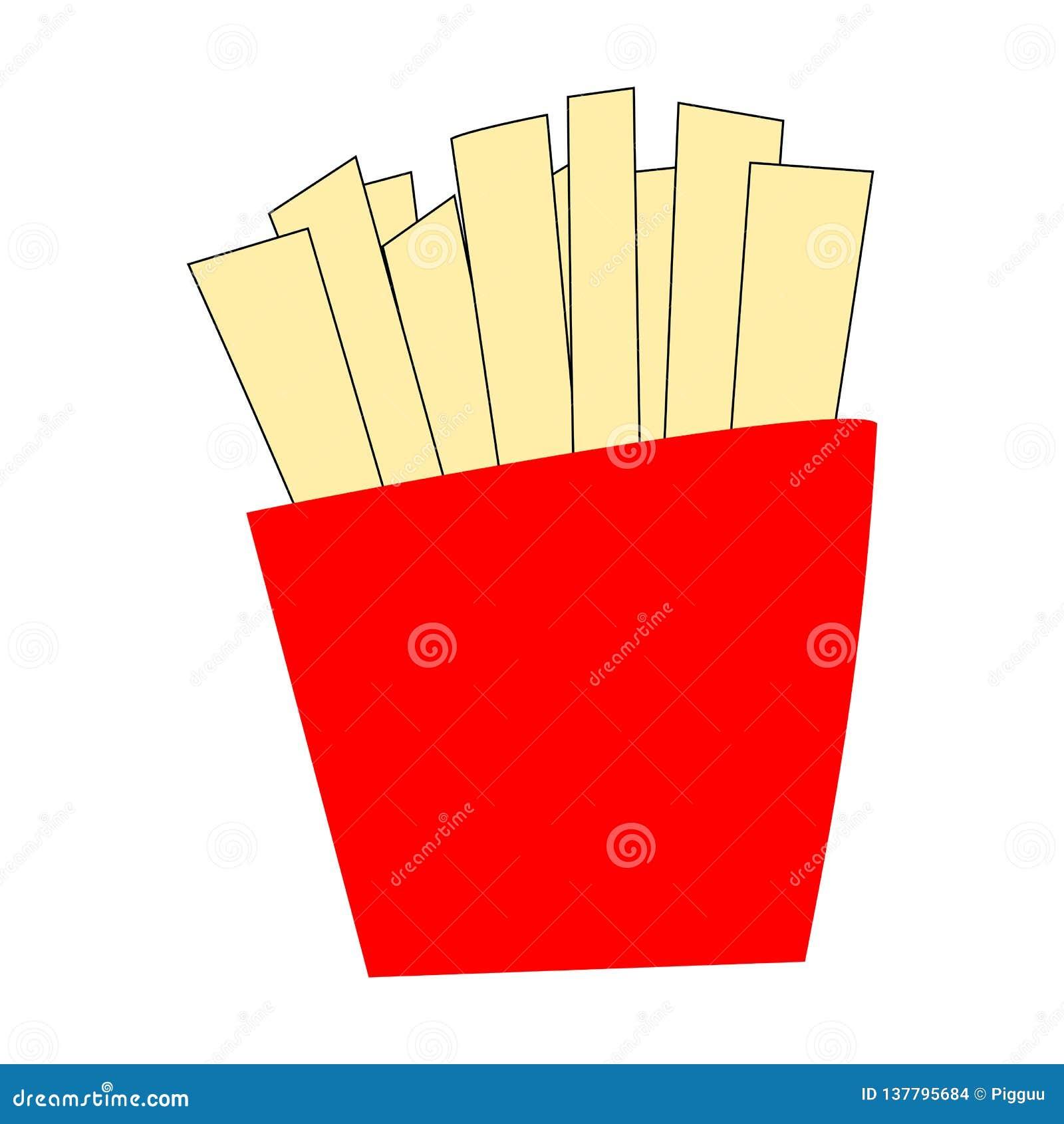 在红色小包,在白色背景隔绝的被油炸的被切的土豆棍子的薯条