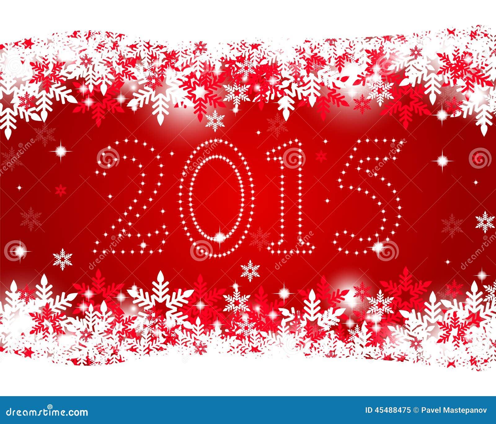 在红色背景的新年2015年