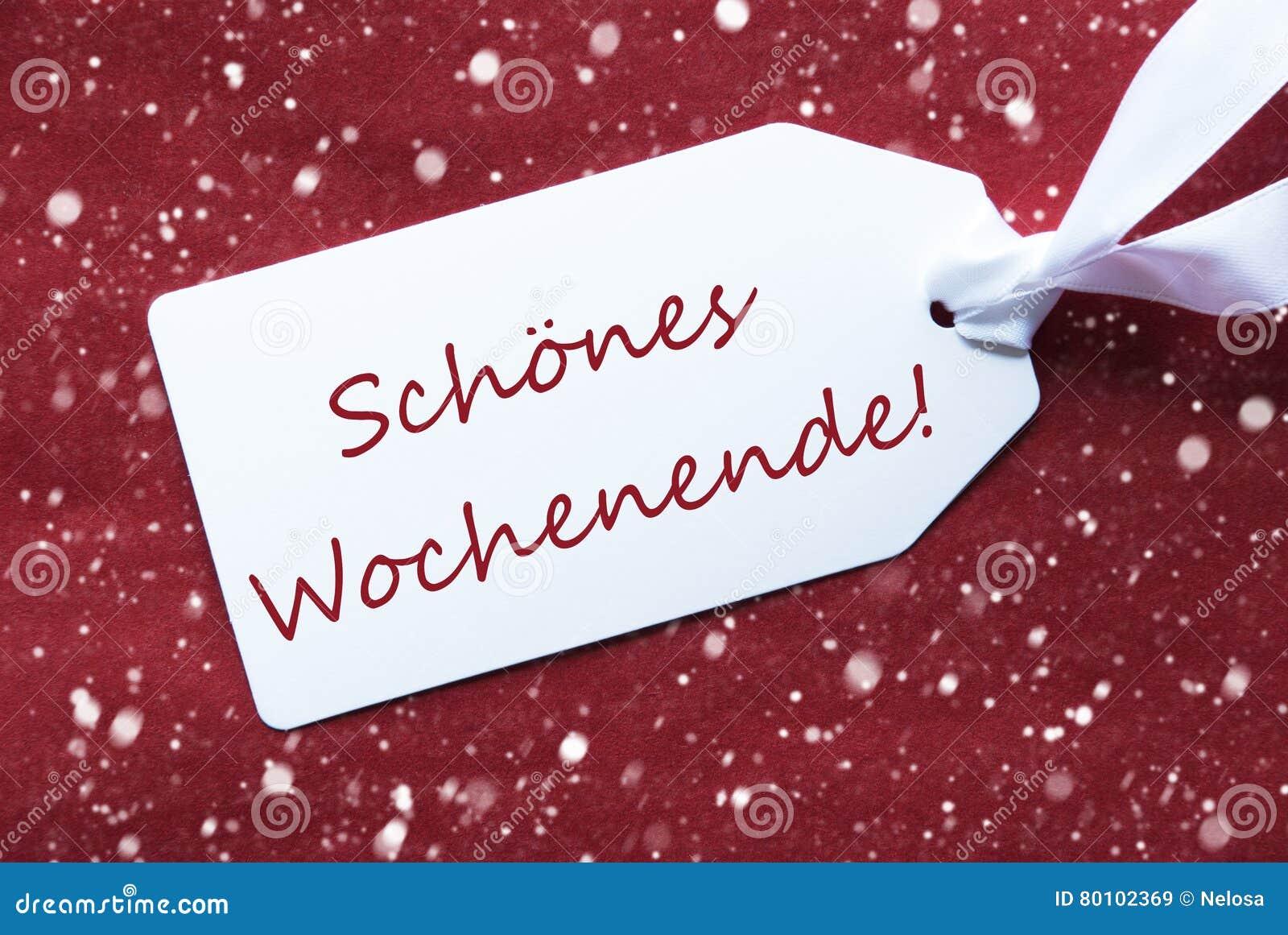 在红色背景,雪花, Schoenes Wochenende的标签意味愉快的周末