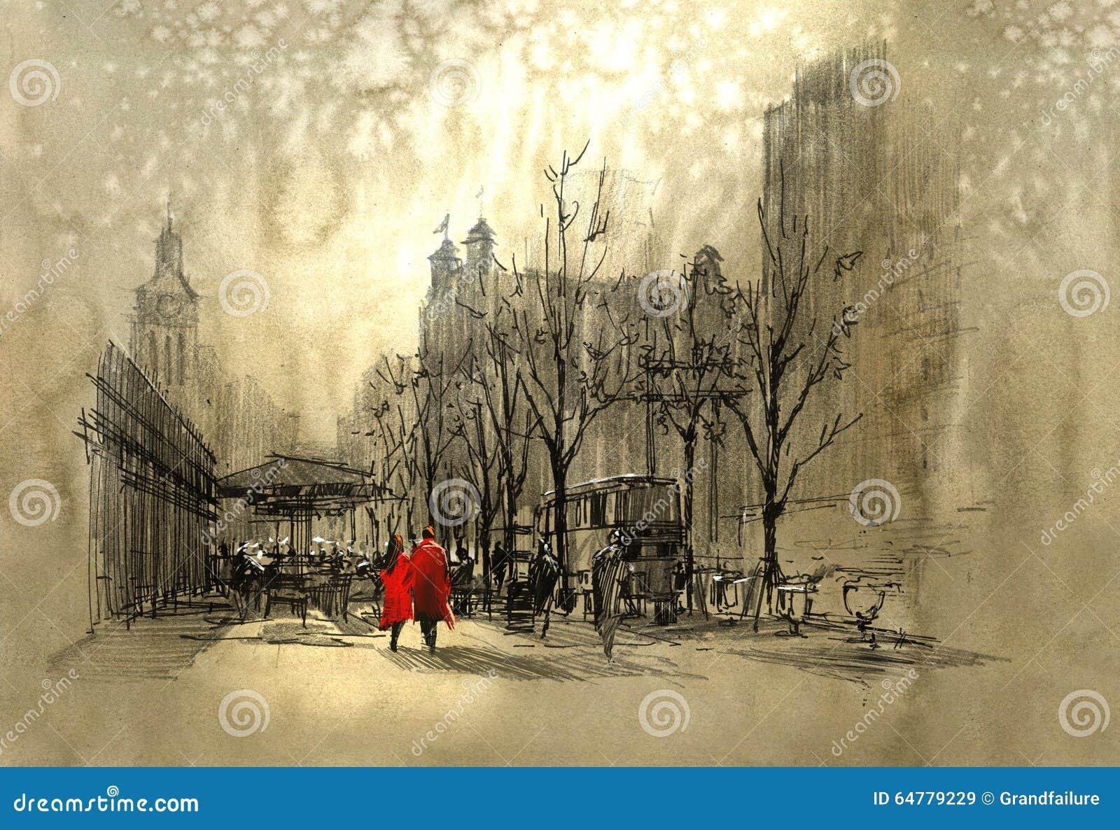 在红色走的夫妇在城市街道上
