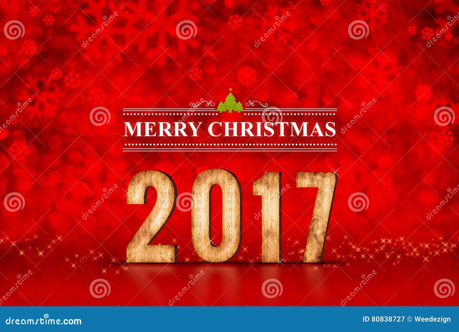 在红色闪耀的bokeh光的圣诞快乐2017数字,事假