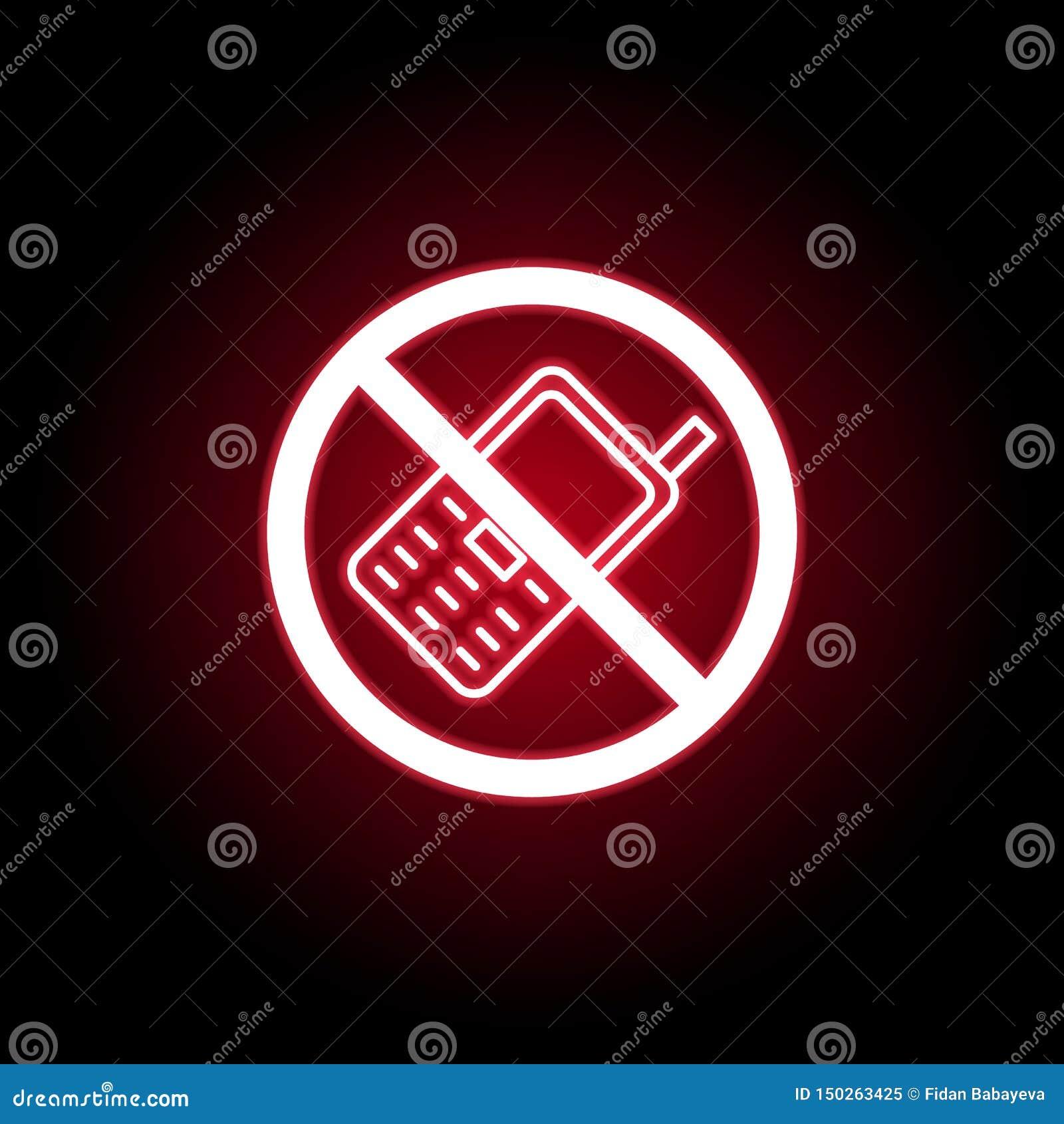 在红色霓虹样式的禁止的电话象 E
