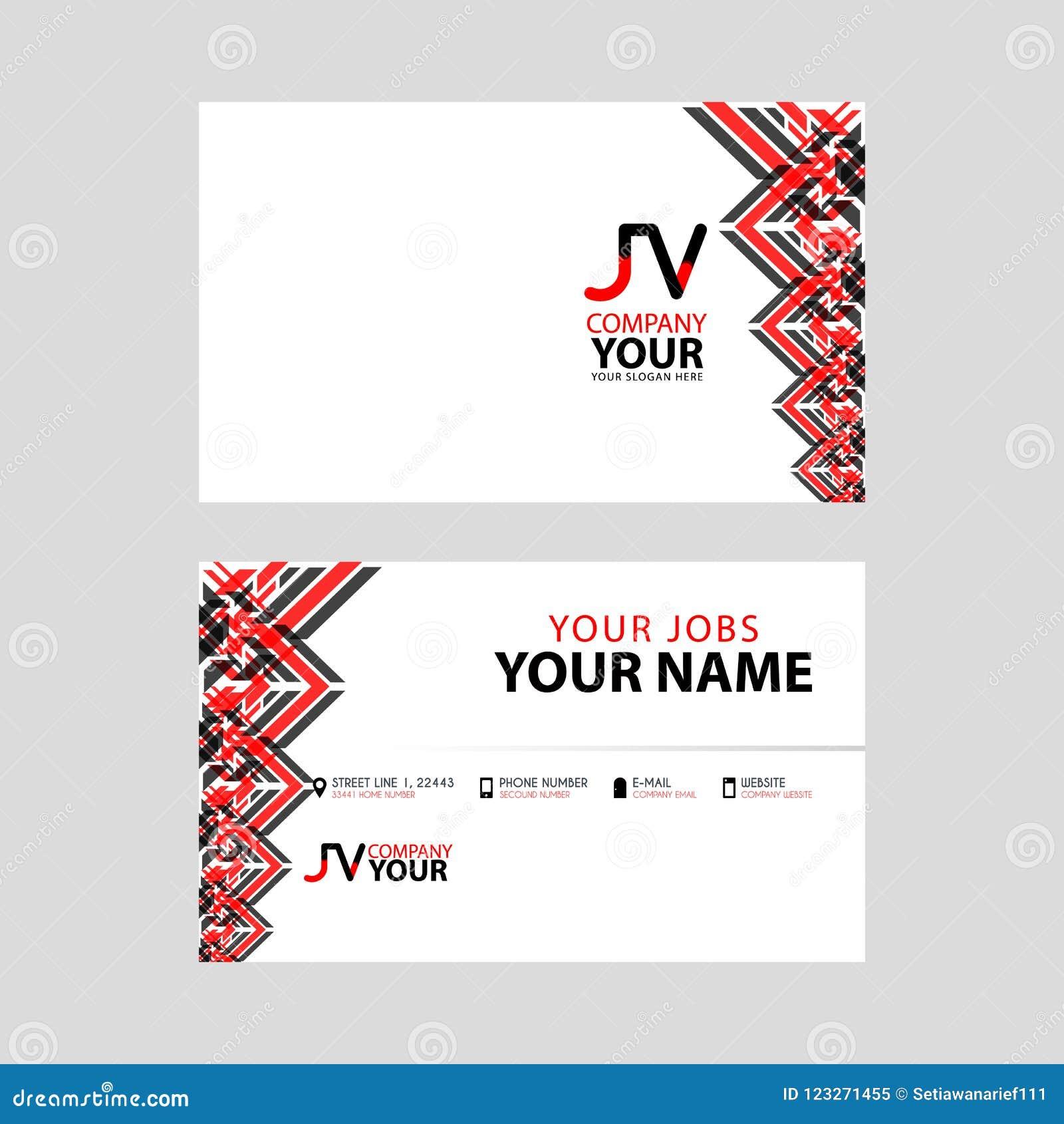 在红色黑名片的JV商标与一个现代设计是水平和干净的 并且在边缘的透明装饰