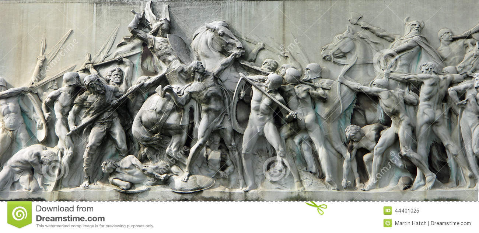在纪念碑的战斗场面