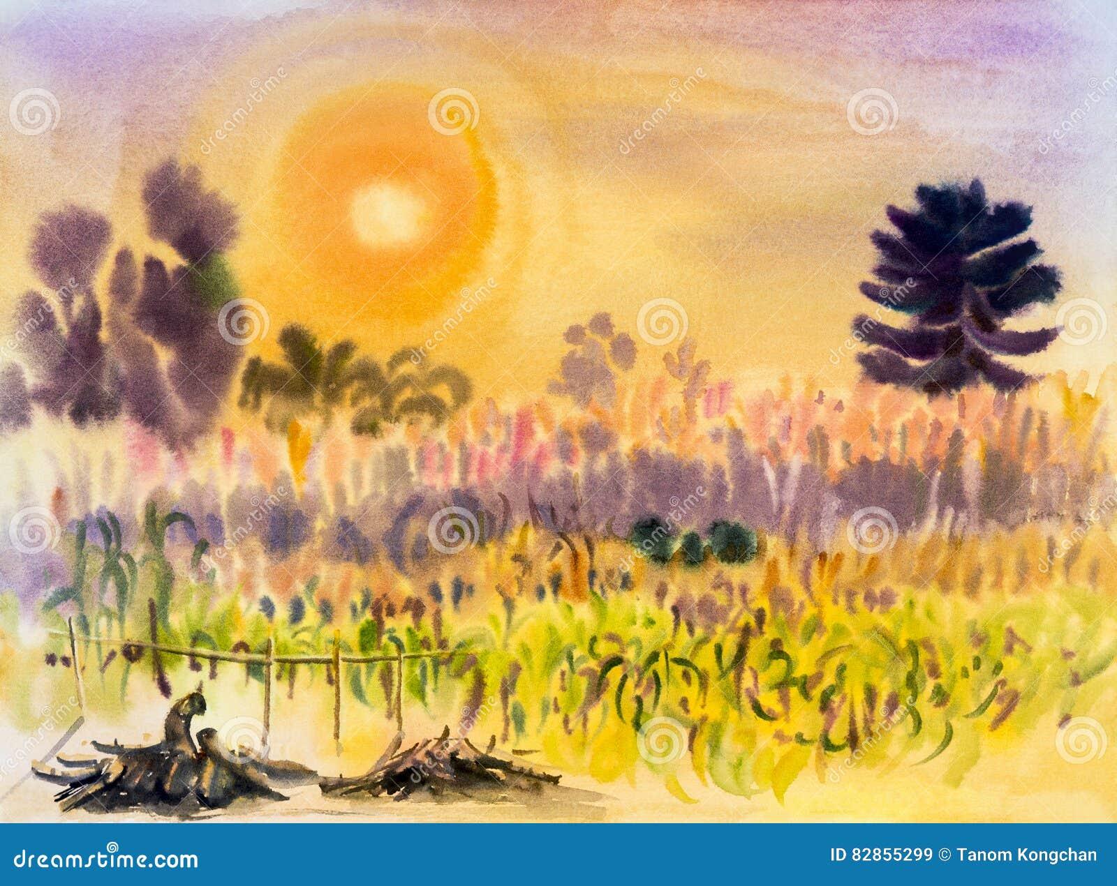 在纸五颜六色的绘画转换玉米,花