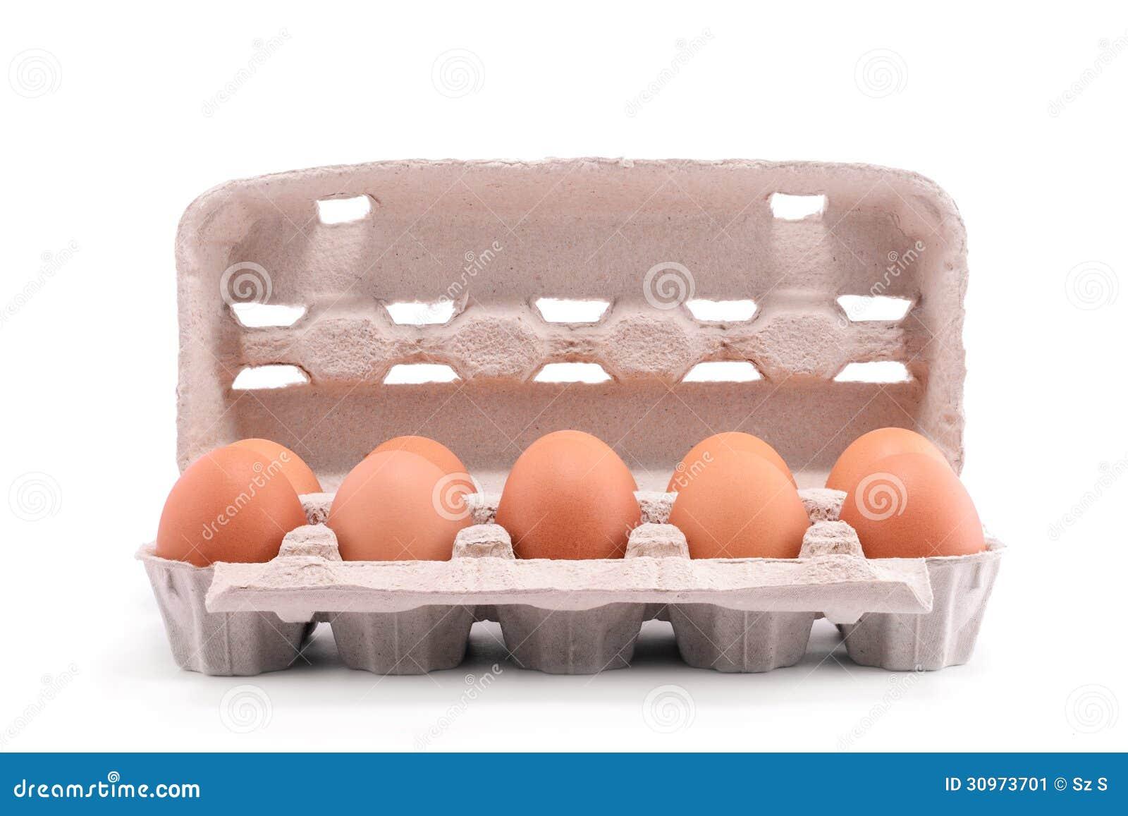 在纸盒包裹的十个新鲜的鸡蛋