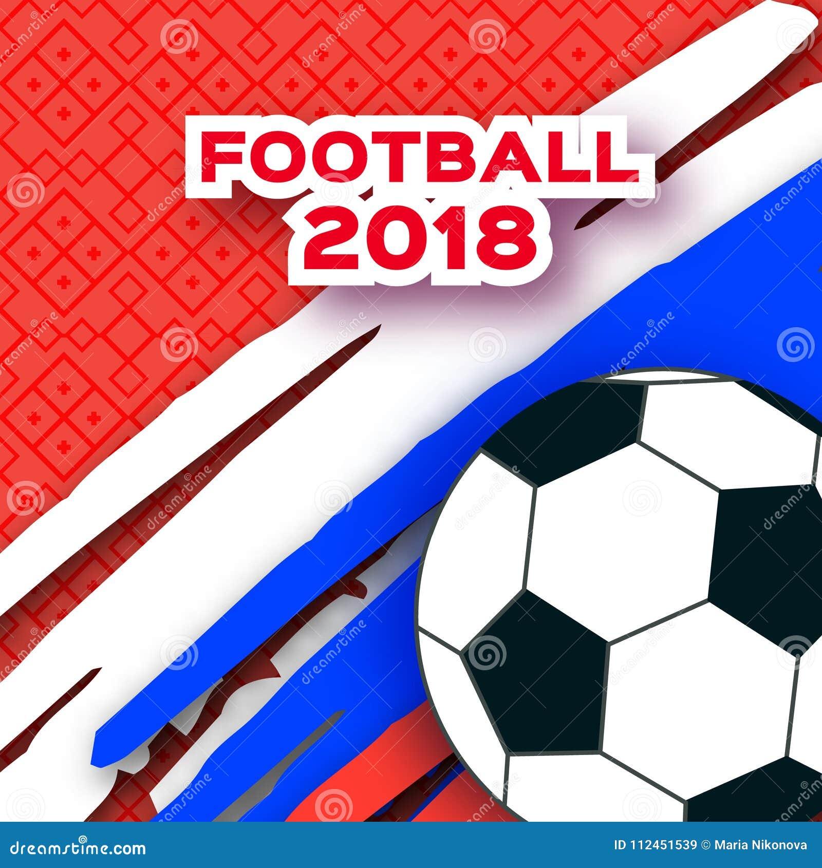 在纸裁减样式的橄榄球2018年 Origami在红色的世界冠军 橄榄球杯子体育 俄国三色旗子