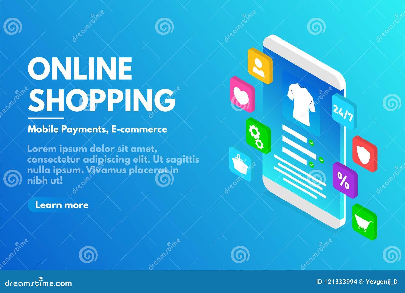 在线购物概念 有用户界面的等量智能手机 电子商务和网上商店概念