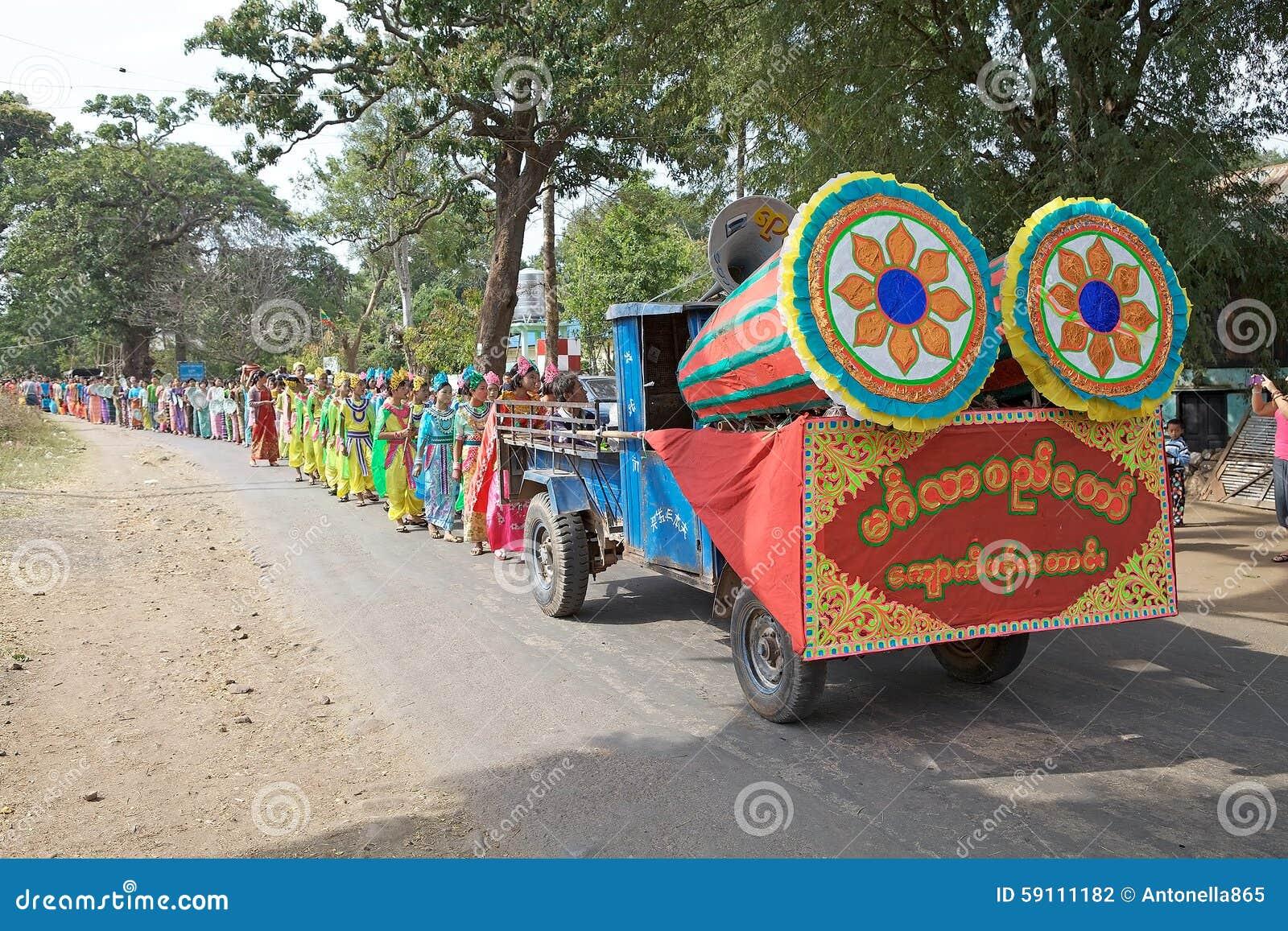 在缅甸的Novitiation仪式