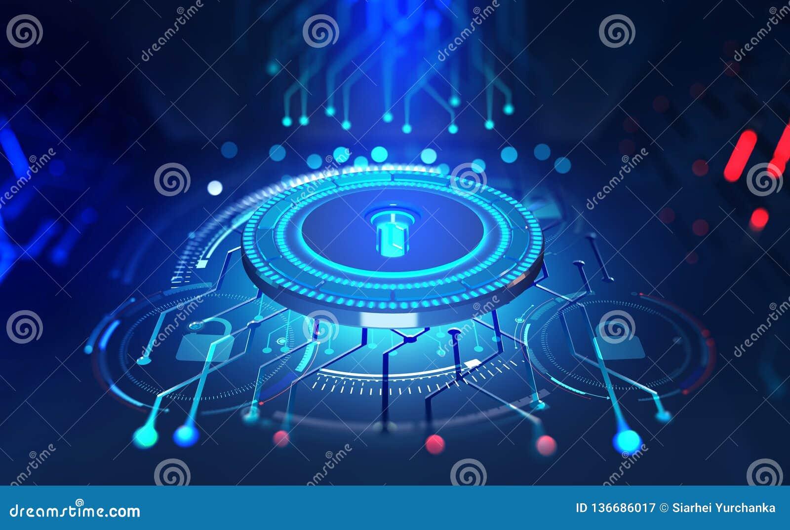 在网上安全 数据保护 数字钥匙和证明 未来的网际空间的概念