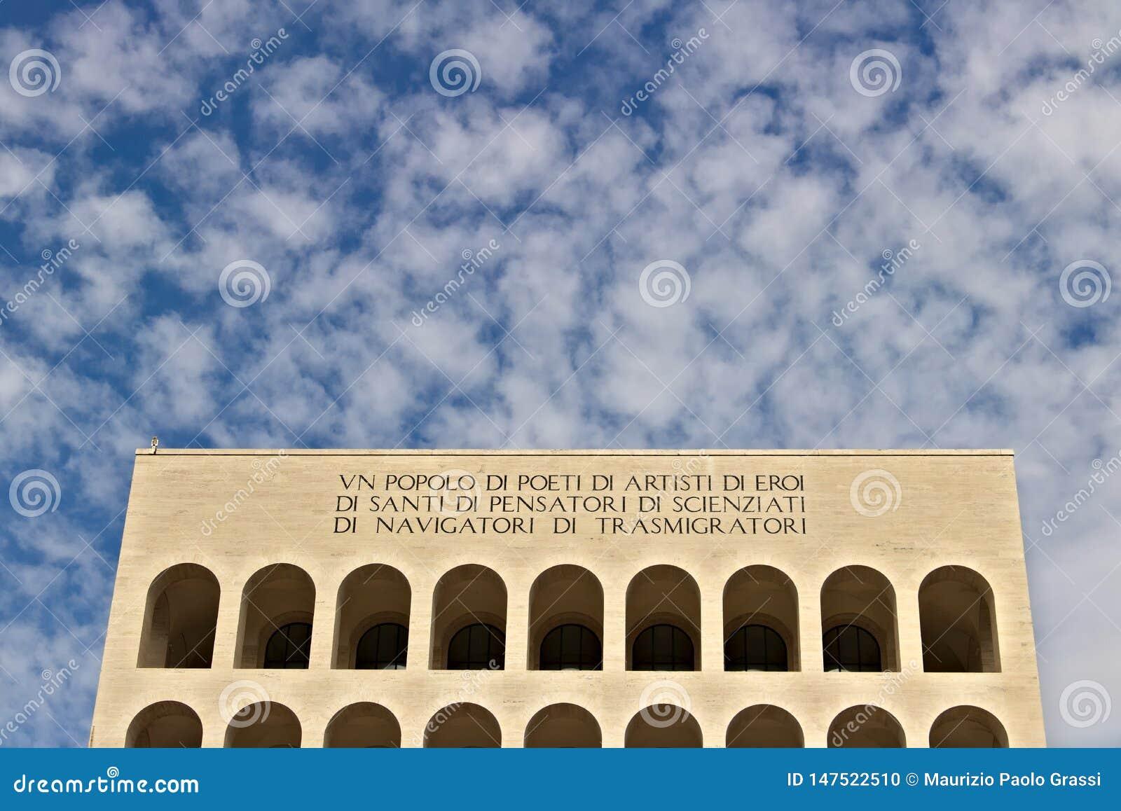 在罗马建造的意大利文明宫殿EUR Fendi exhibiti