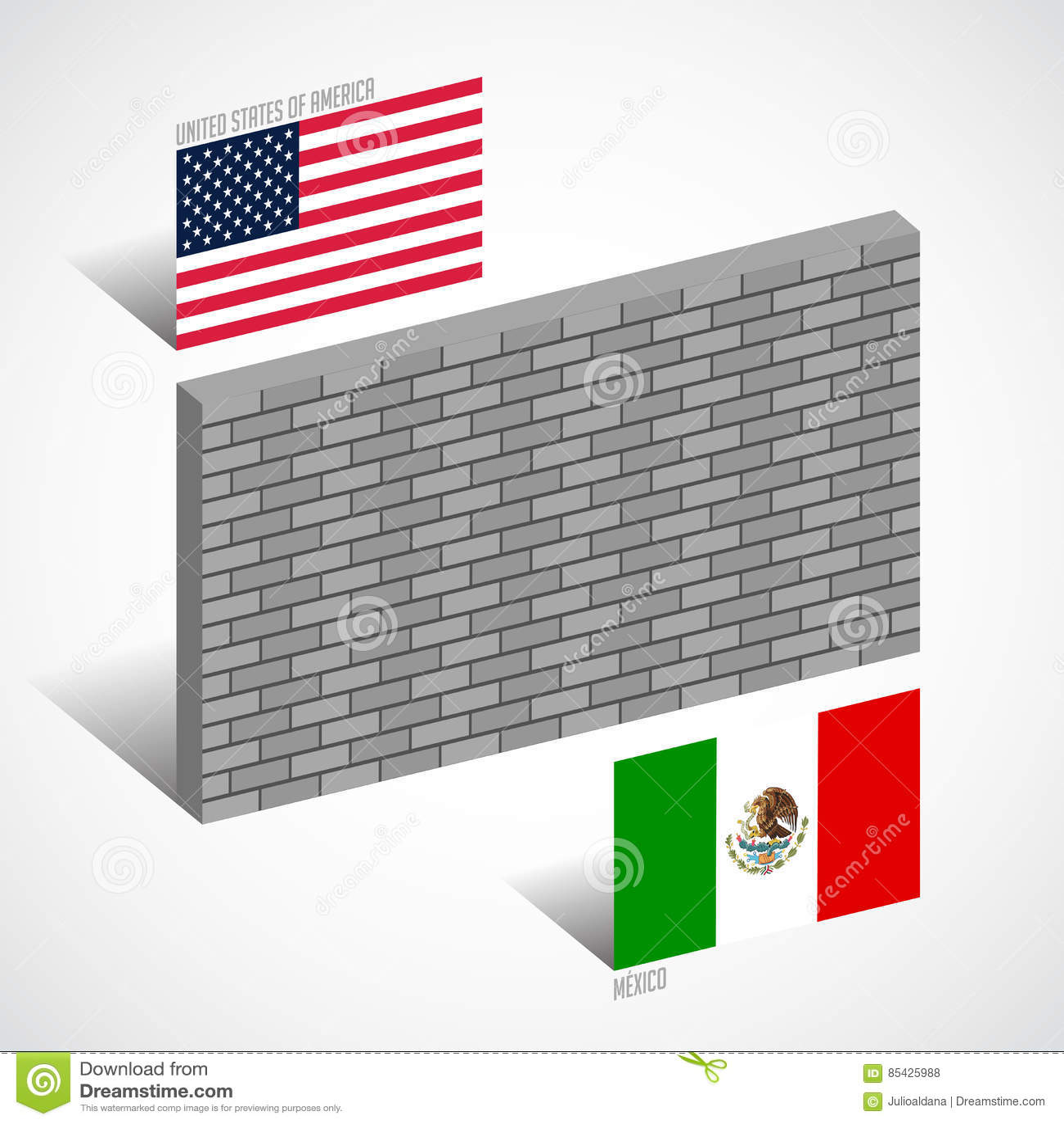 在美国和墨西哥,边界墙壁概念之间的墙壁
