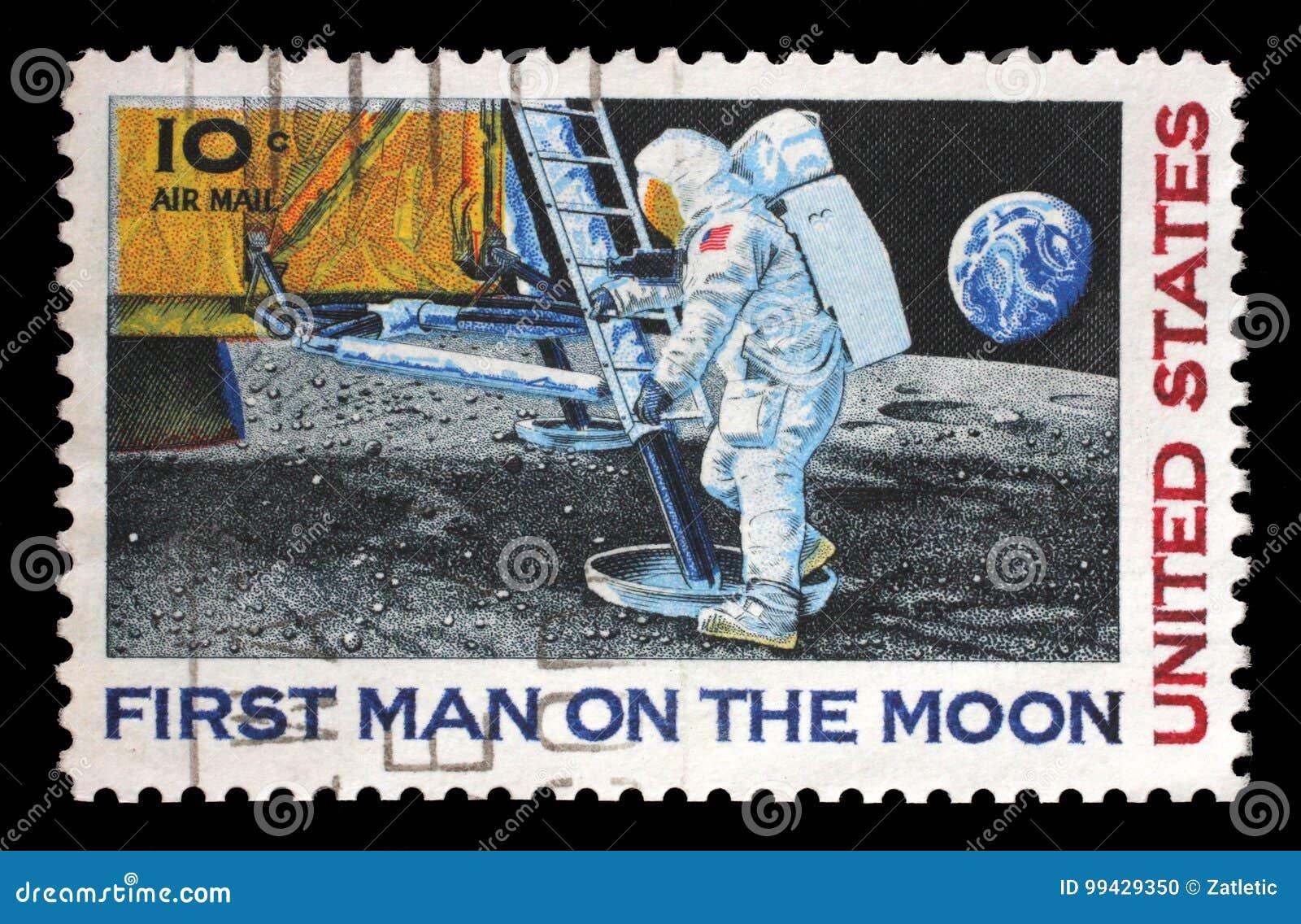 在美国打印的邮票显示月亮的宇航员尼尔・阿姆斯特朗