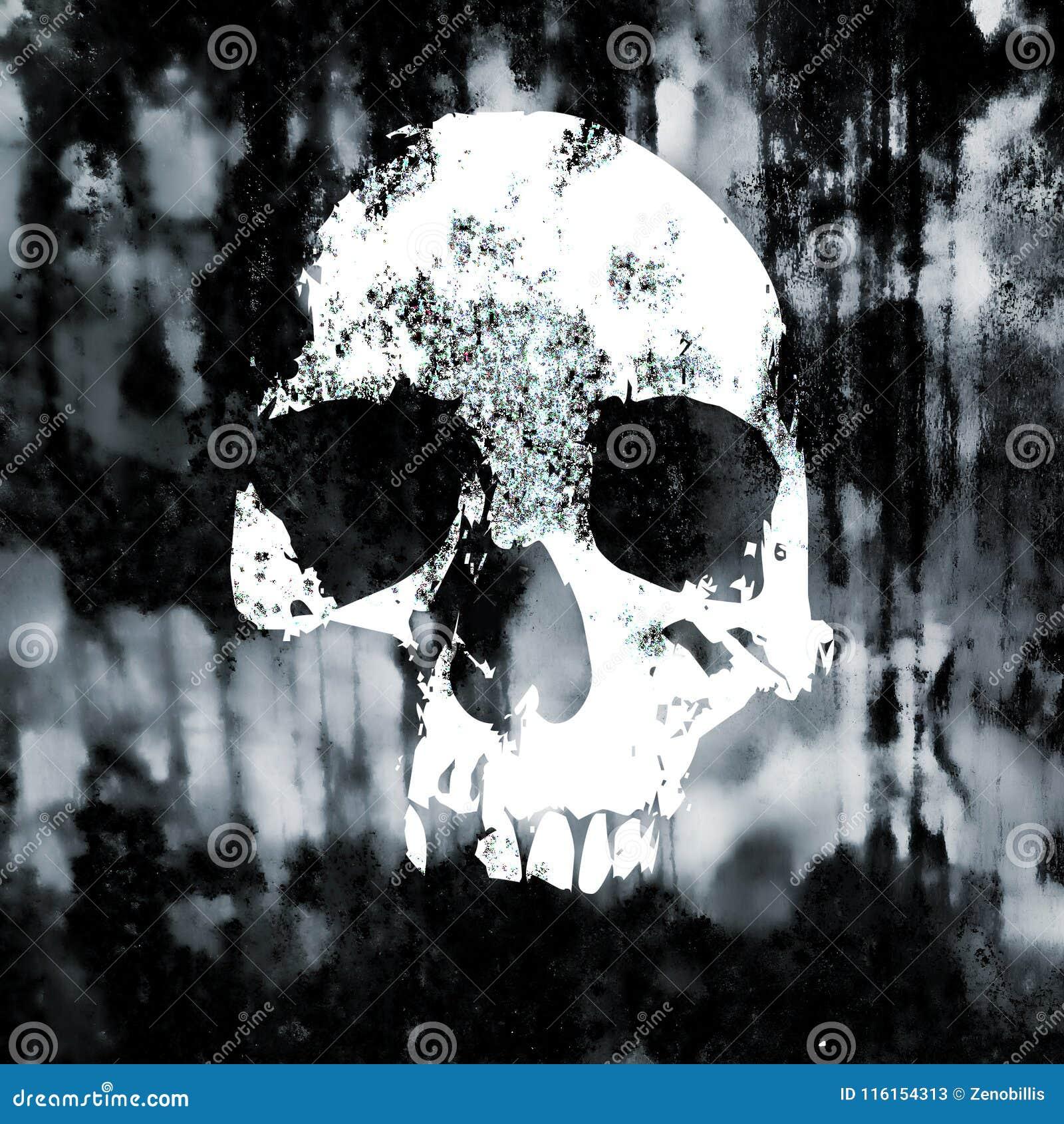 在老脏的墙壁上的头骨标志 危险符号 单色难看的东西葡萄酒例证