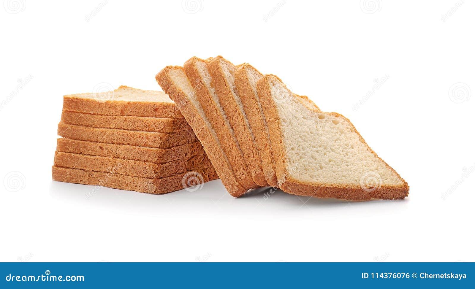在背景的切的多士面包