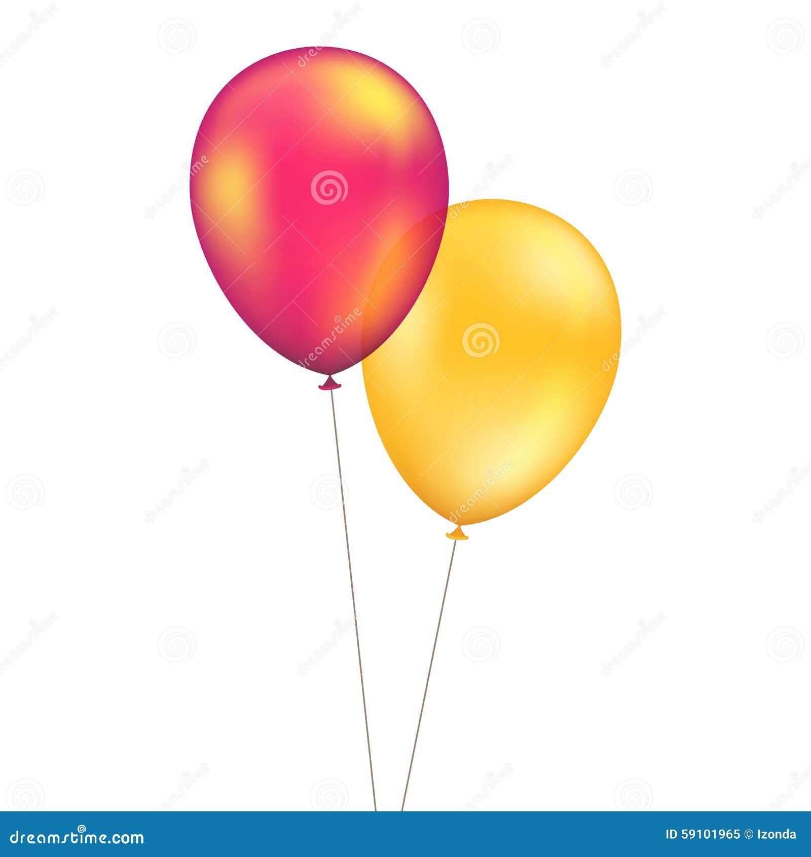 在背景被设置隔绝的传染媒介红色橙黄色气球