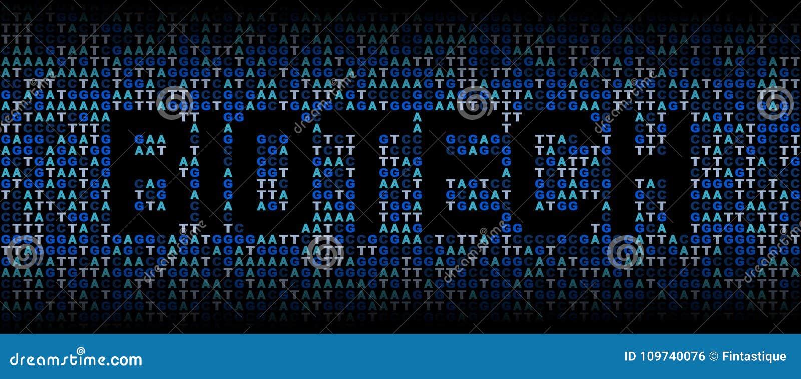 在脱氧核糖核酸基因代码背景例证的生物科技文本