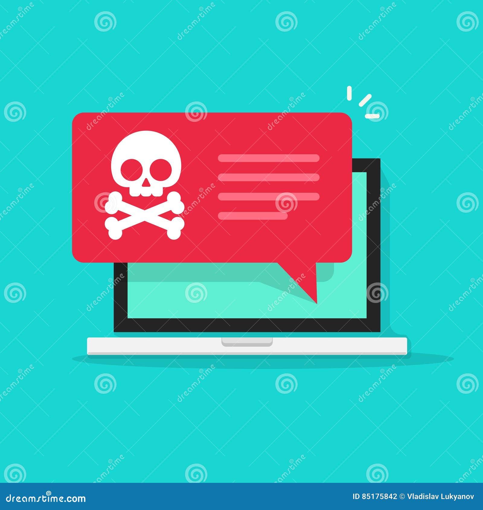 在膝上型计算机传染媒介,垃圾短信数据,欺骗互联网病毒的Malware通知