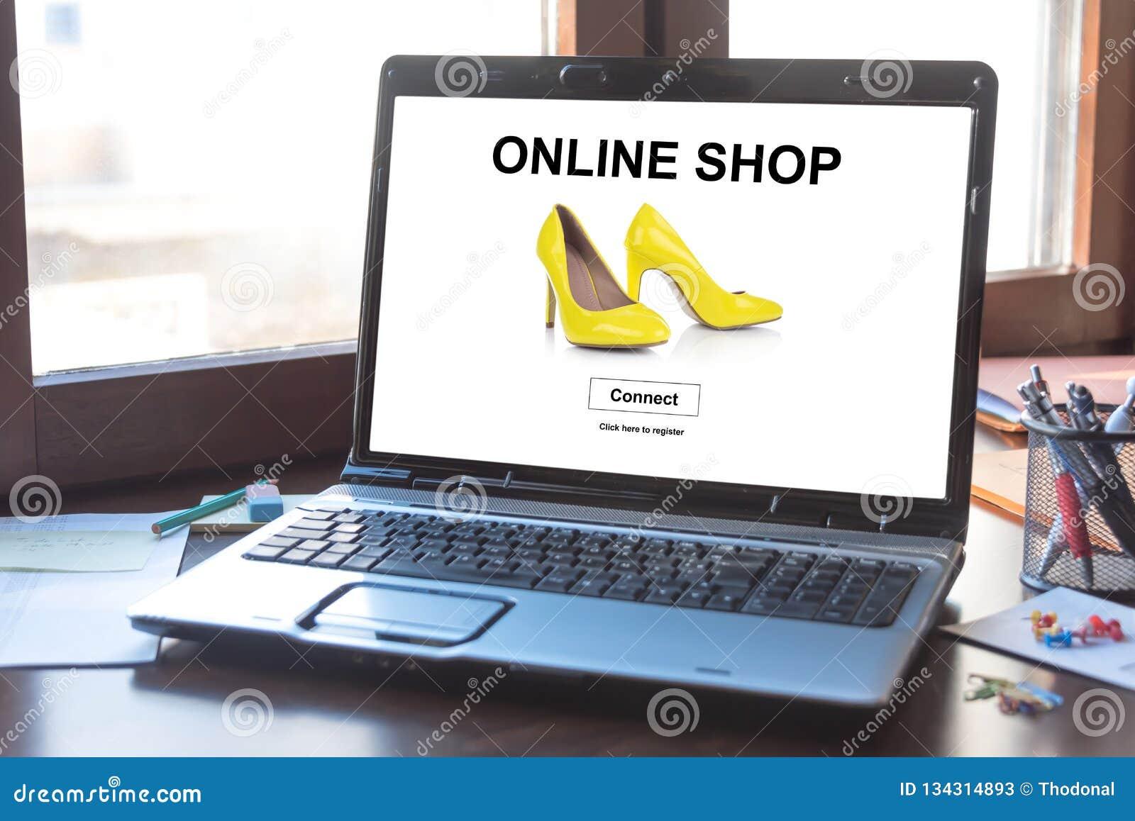 在膝上型计算机屏幕上的网上商店概念