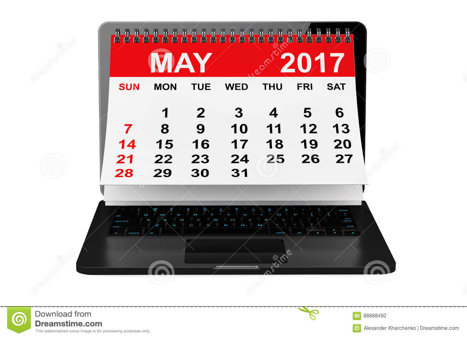 在膝上型计算机屏幕的5月2017日历 3d翻译