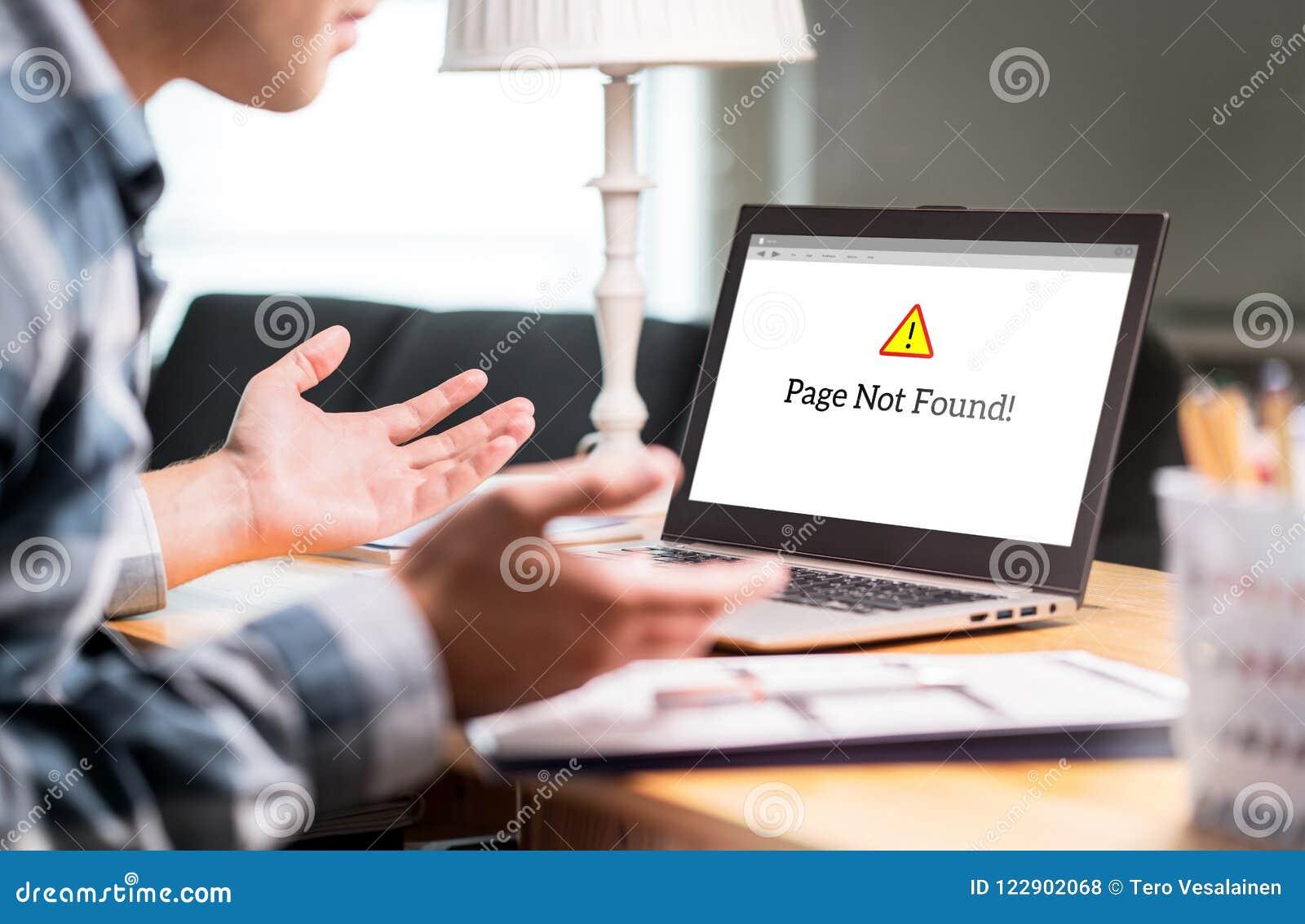 在膝上型计算机的页没找到的和错误