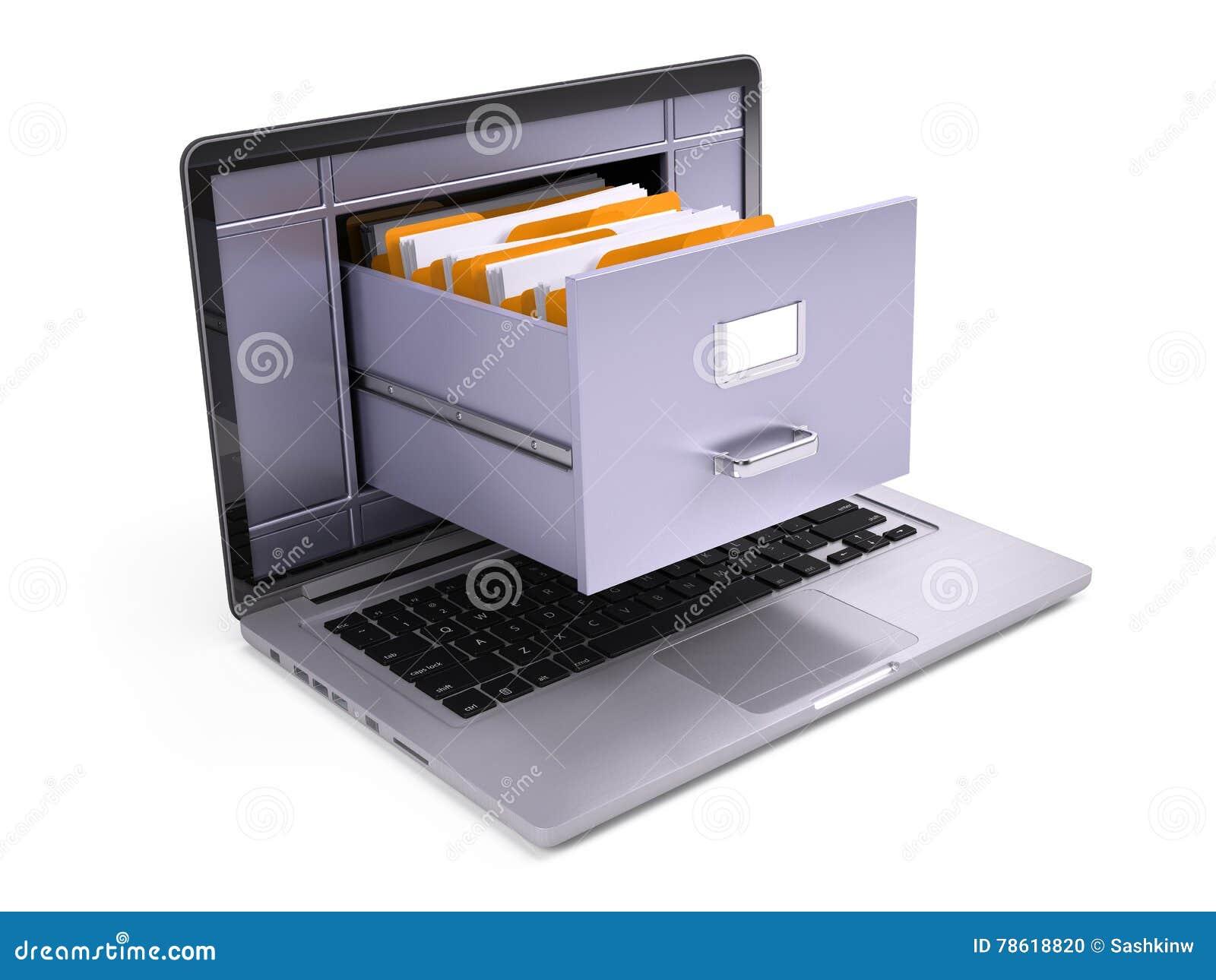 在膝上型计算机里面屏幕的文件柜在白色的