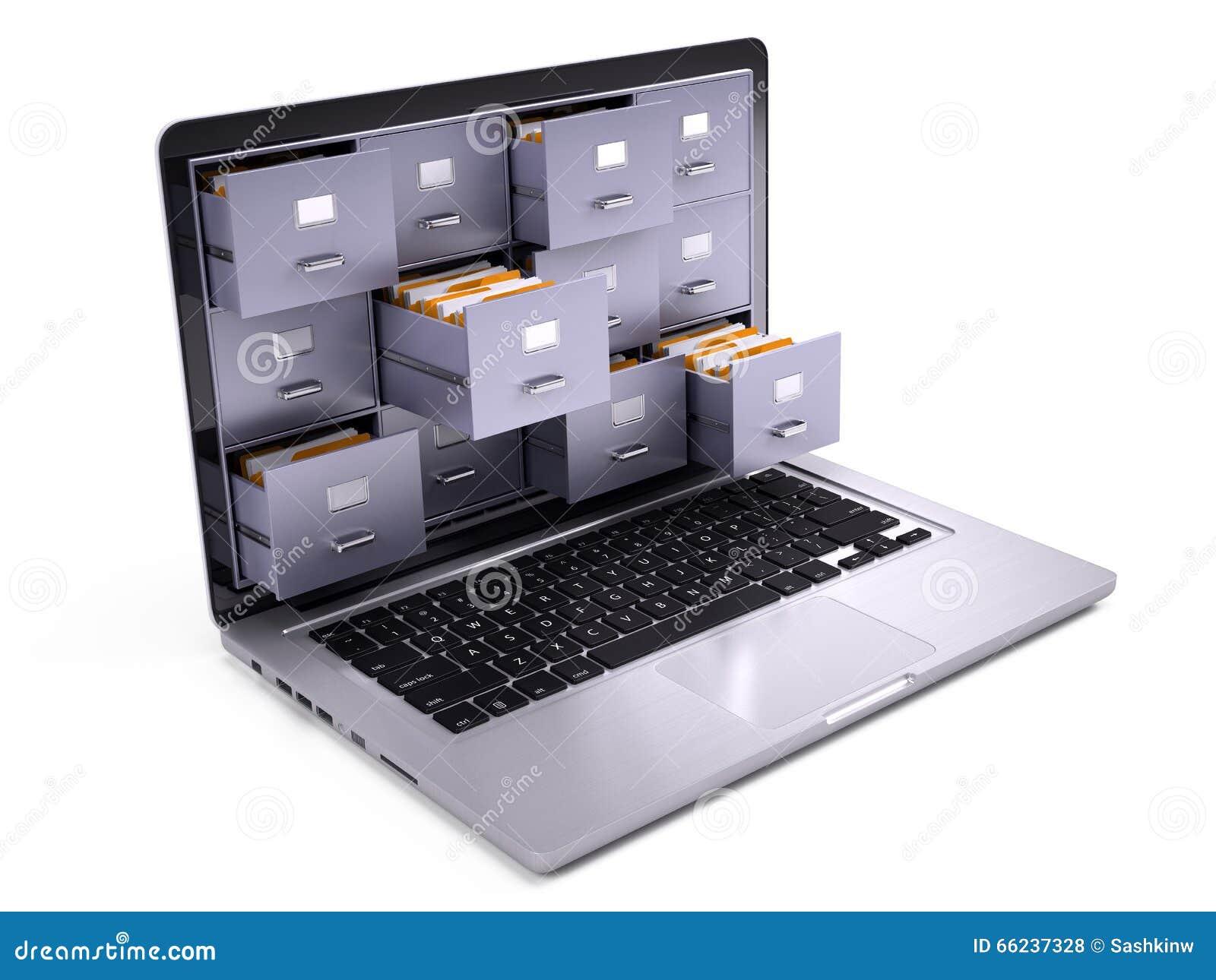 在膝上型计算机里面屏幕的文件柜