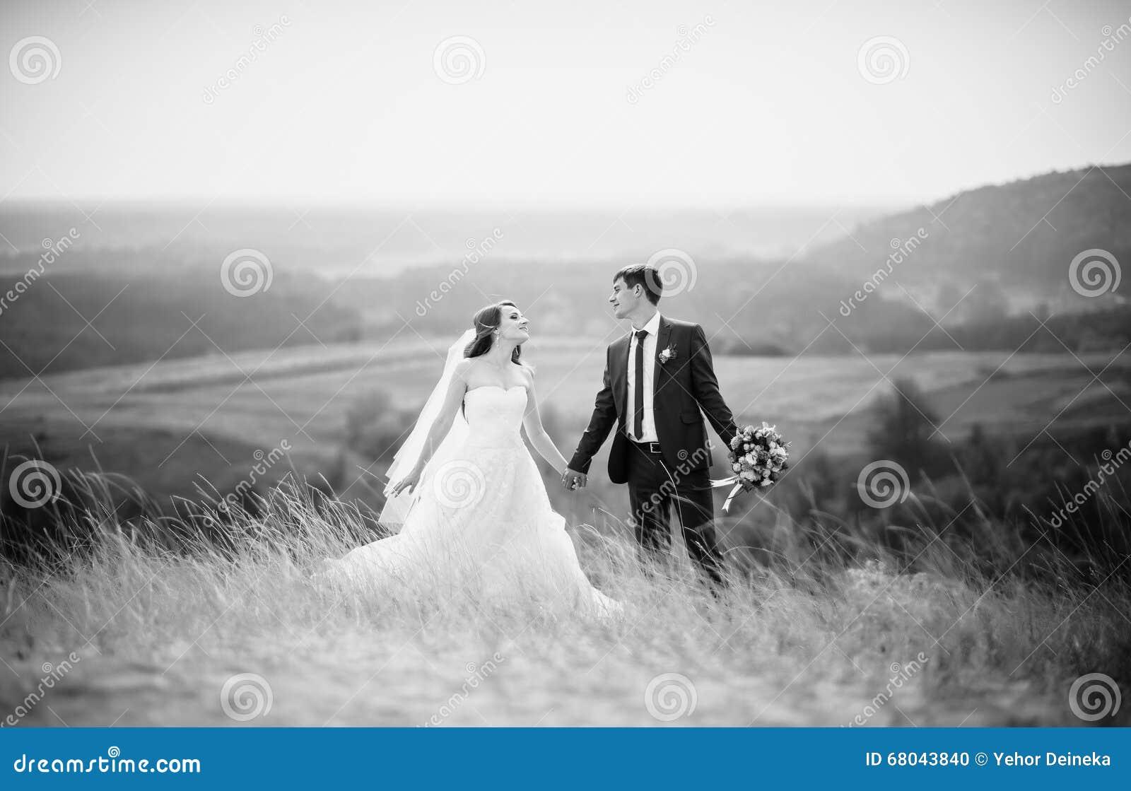 在自然的婚姻的步行