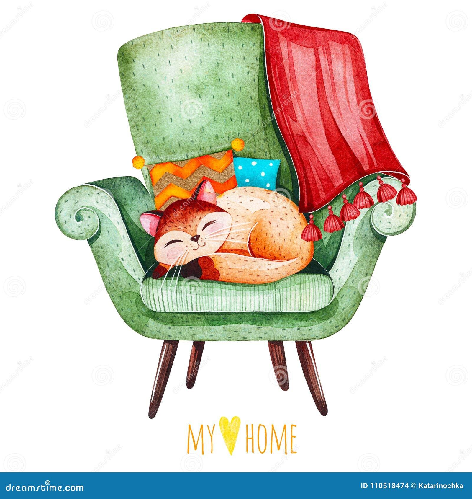 在舒适绿色椅子的睡觉逗人喜爱的小猫与多彩多姿的坐垫和格子花呢披肩